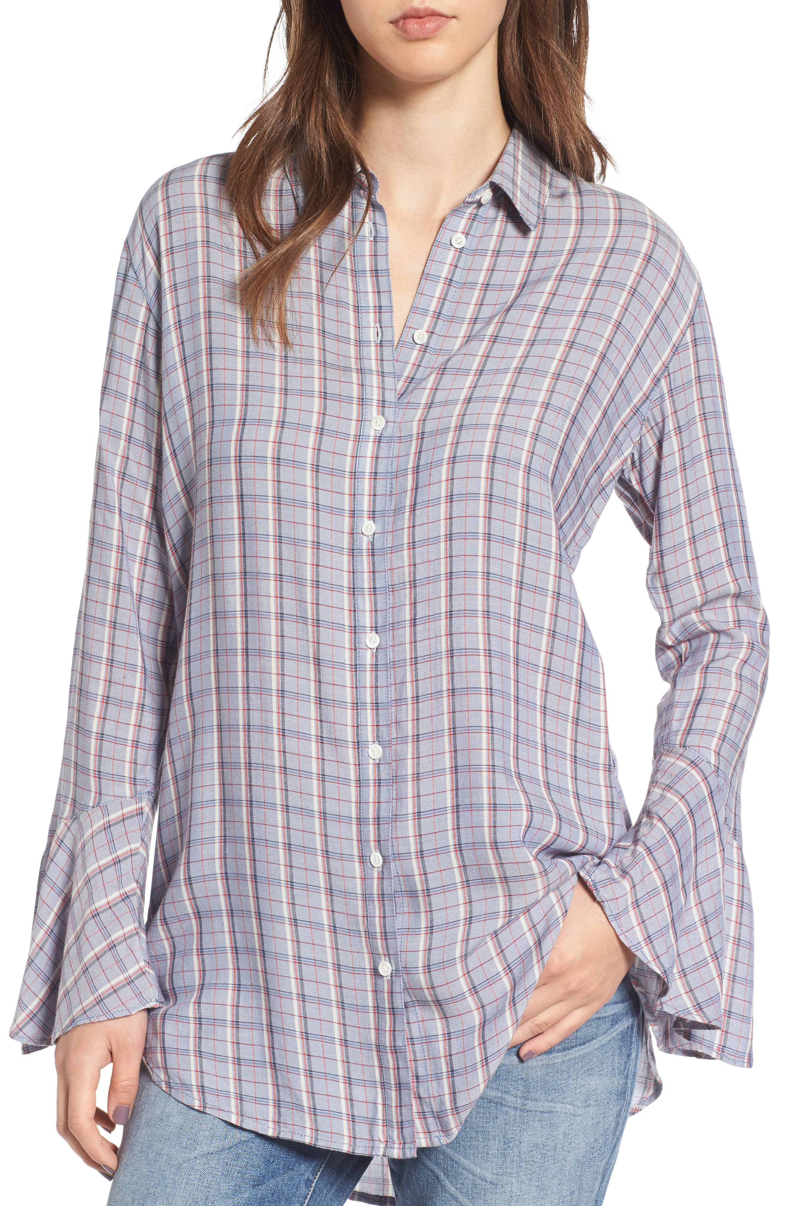 Plaid Drapey Shirt,                         Main,                         color, Blue Stonewash Three Bar Check