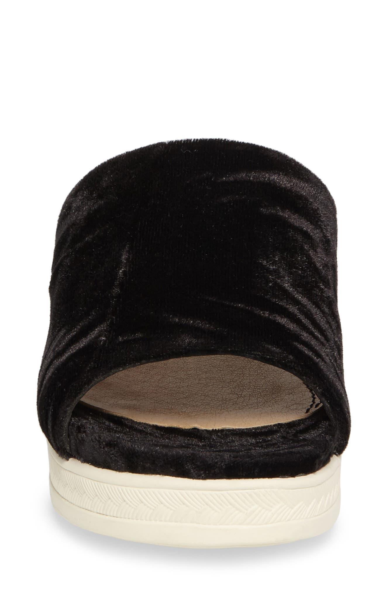 Darla Slide Sandal,                             Alternate thumbnail 4, color,                             Black Velvet Fabric