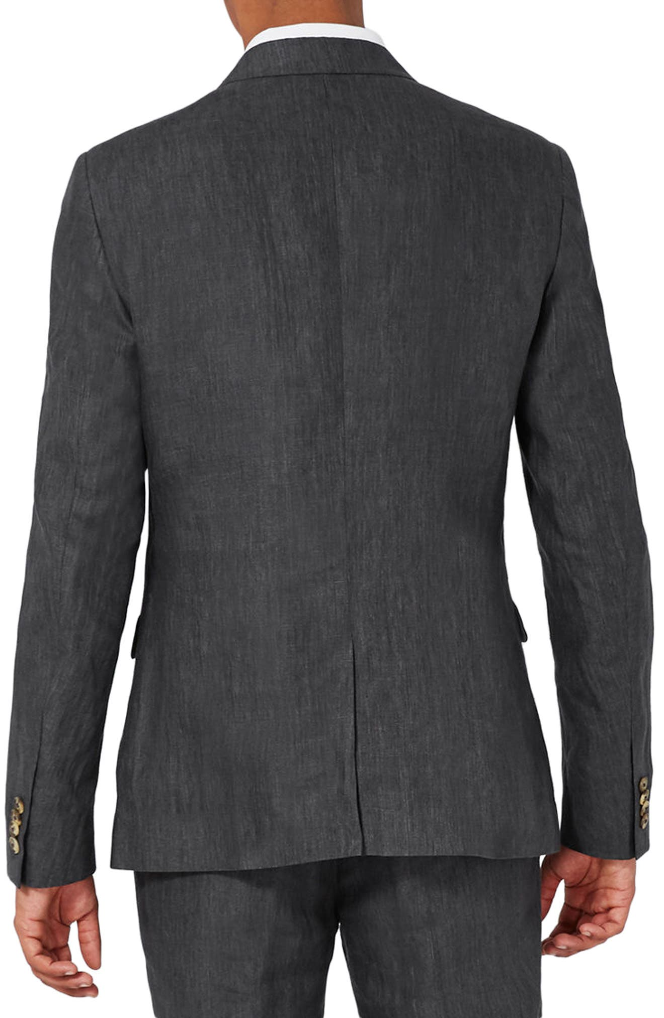 Alternate Image 3  - Topman Skinny Fit Linen Suit Jacket