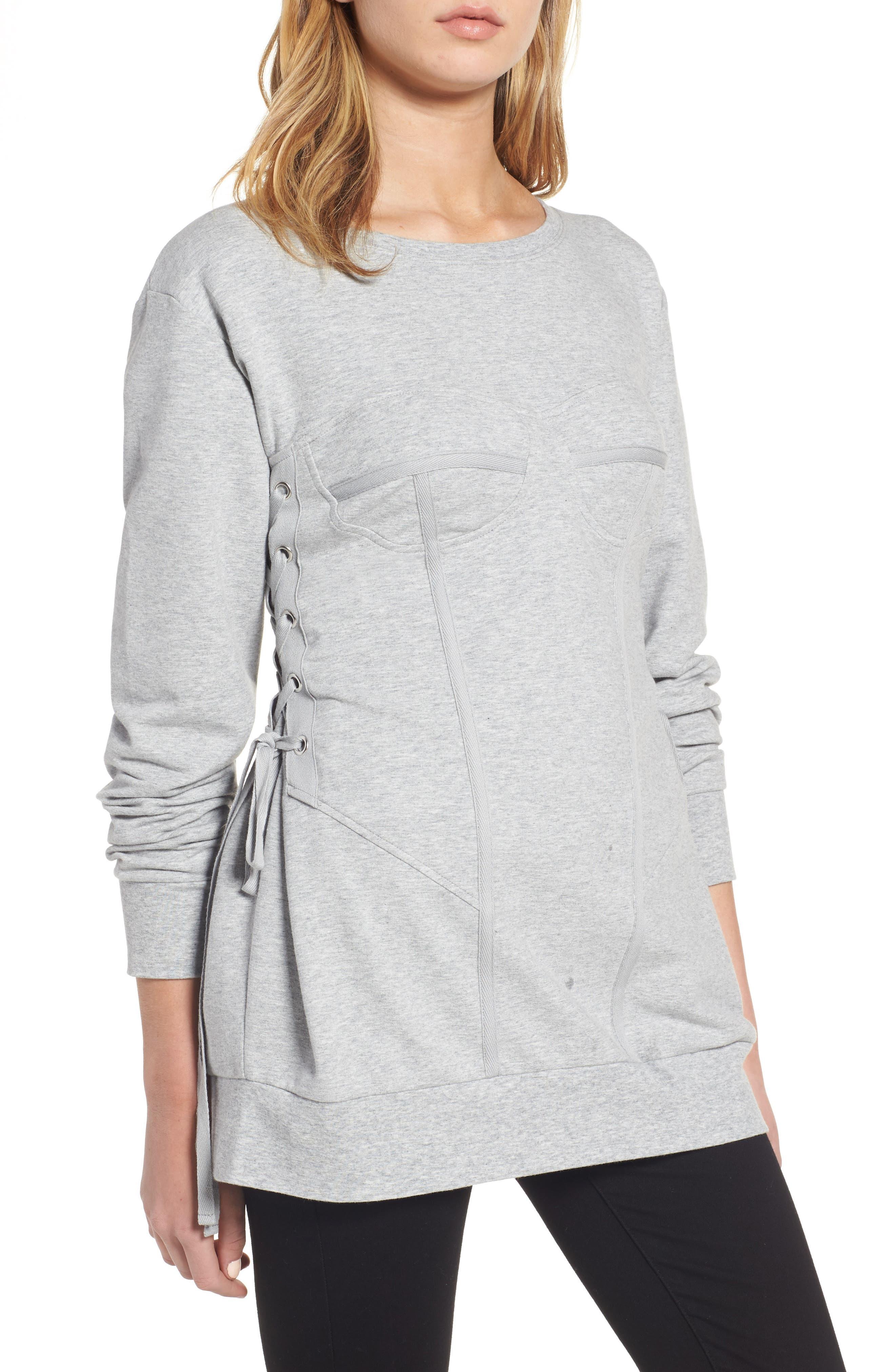 Corset Sweatshirt,                         Main,                         color, Grey Heather
