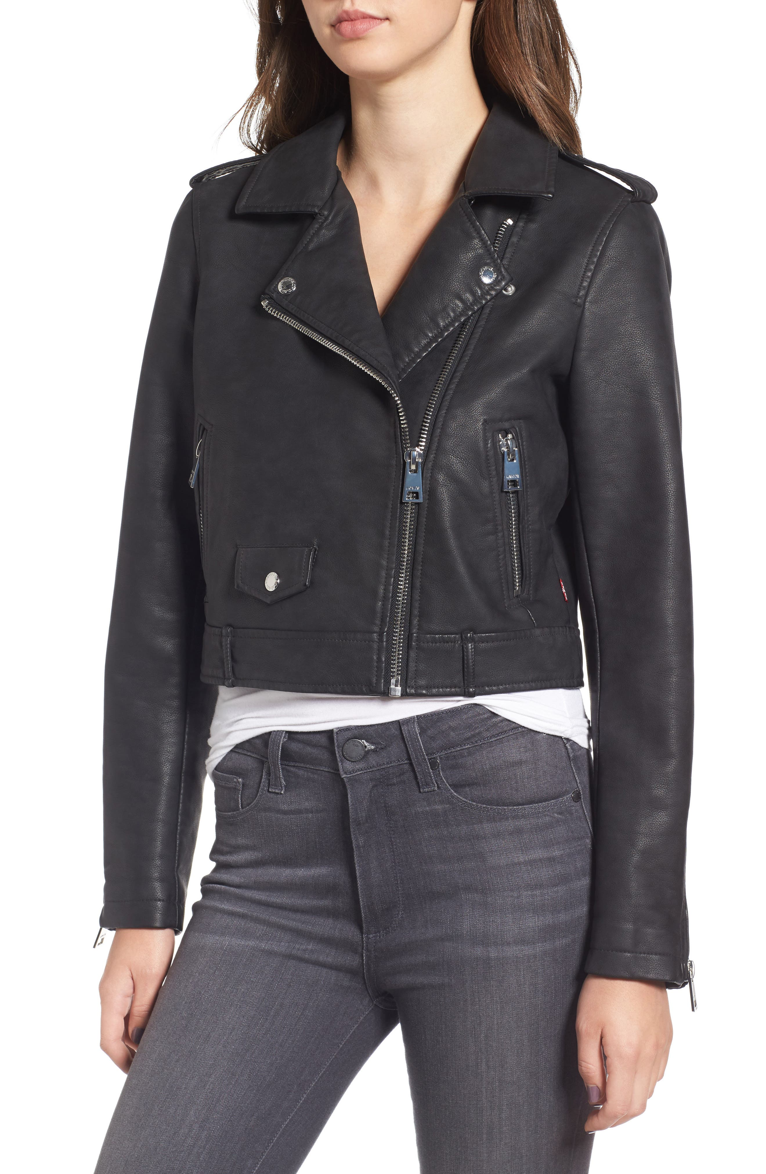 Levis<sup>®</sup> Sherpa Faux Leather Moto Jacket with Faux Fur Collar,                             Alternate thumbnail 4, color,                             Black