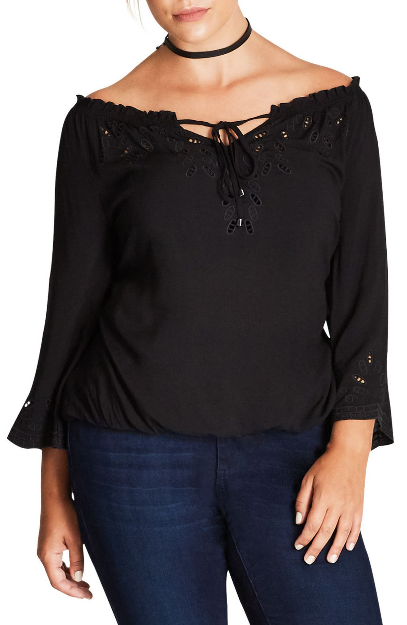 Alternate Image 1 Selected - City Chic Detail Lover Shirt (Plus Size)