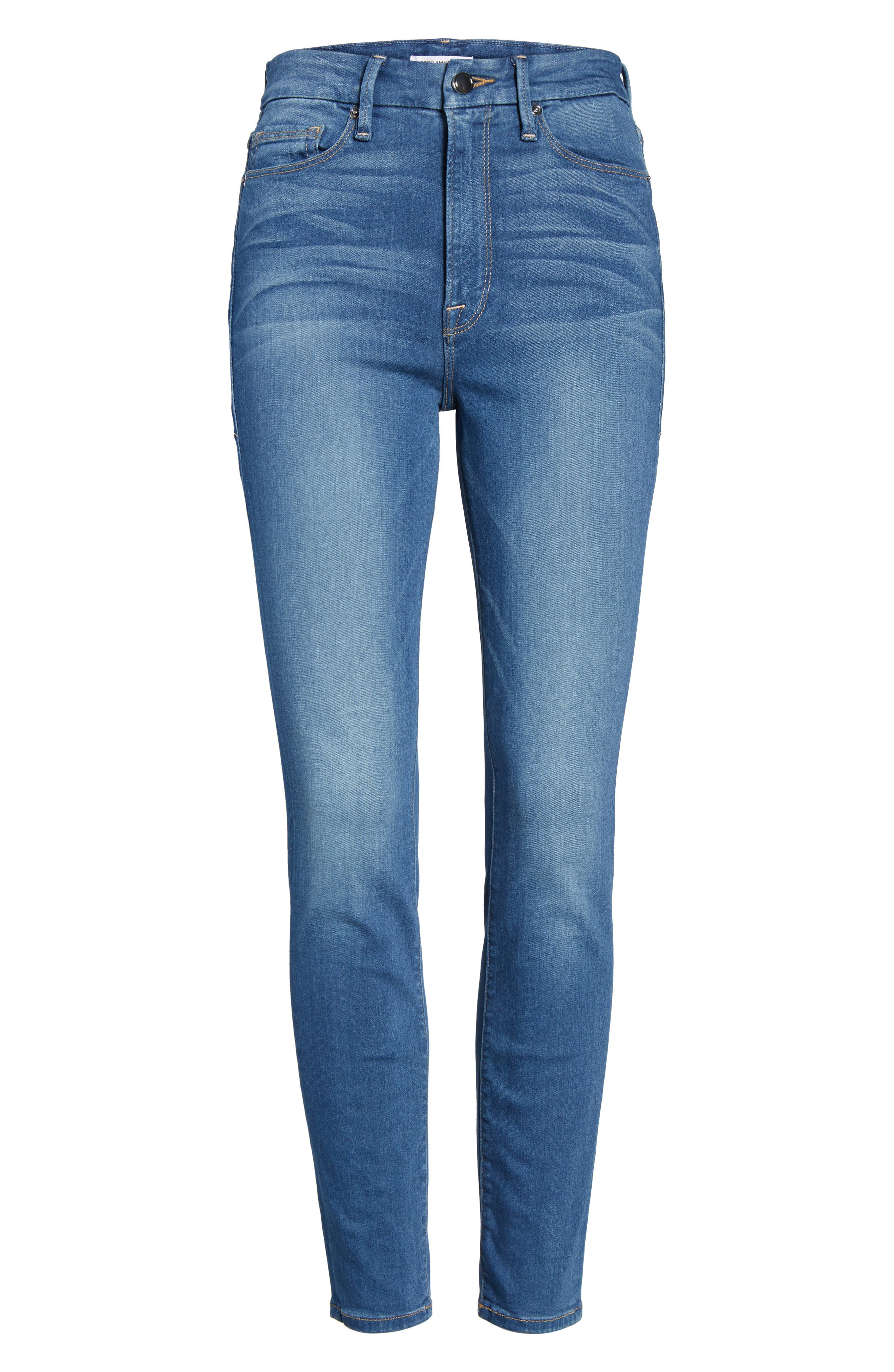 Alternate Image 6  - Good American Good Waist High Waist Crop Skinny Jeans (Blue 056) (Extended Sizes)