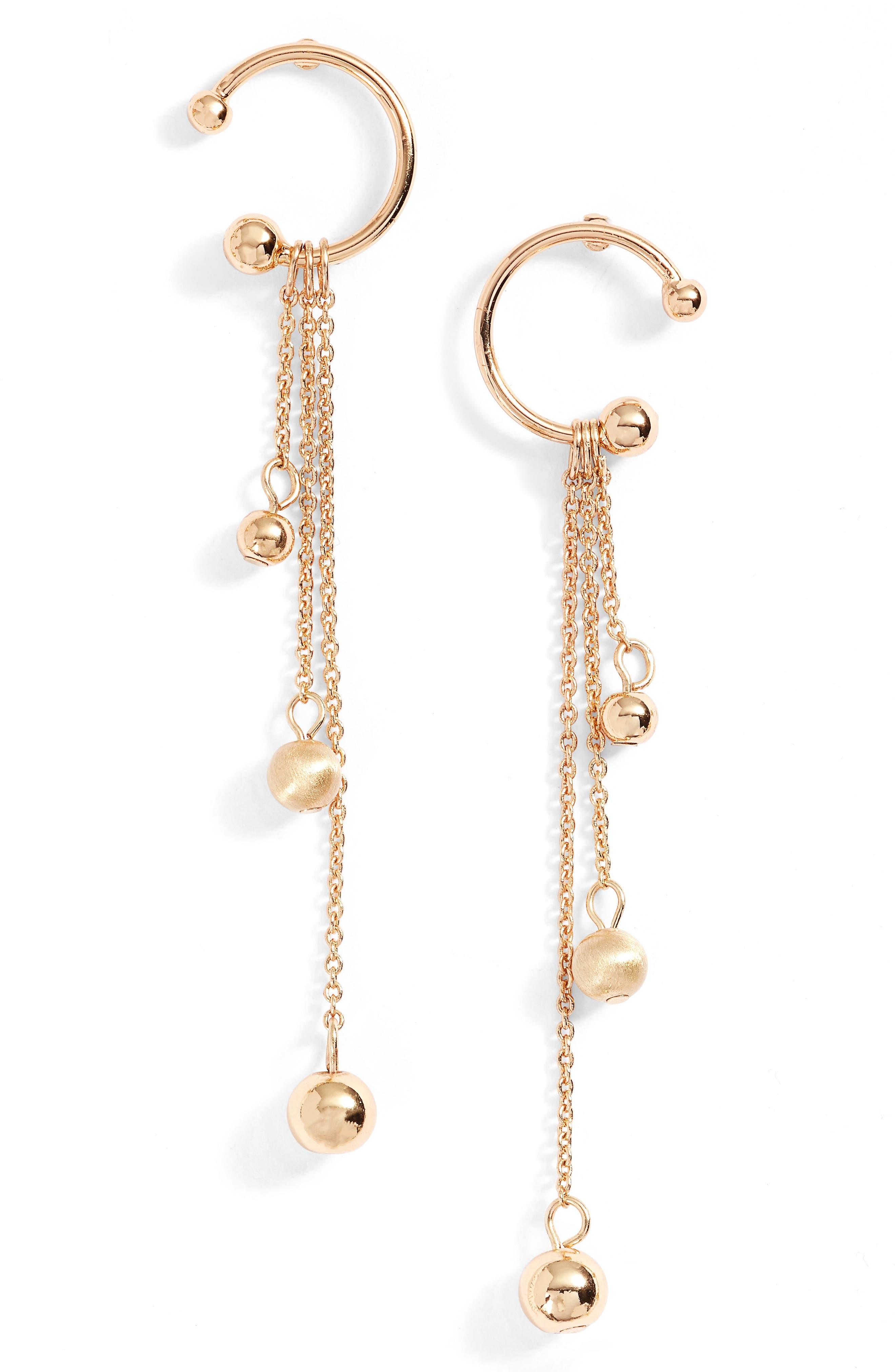Linear Drop Earrings,                         Main,                         color, Gold