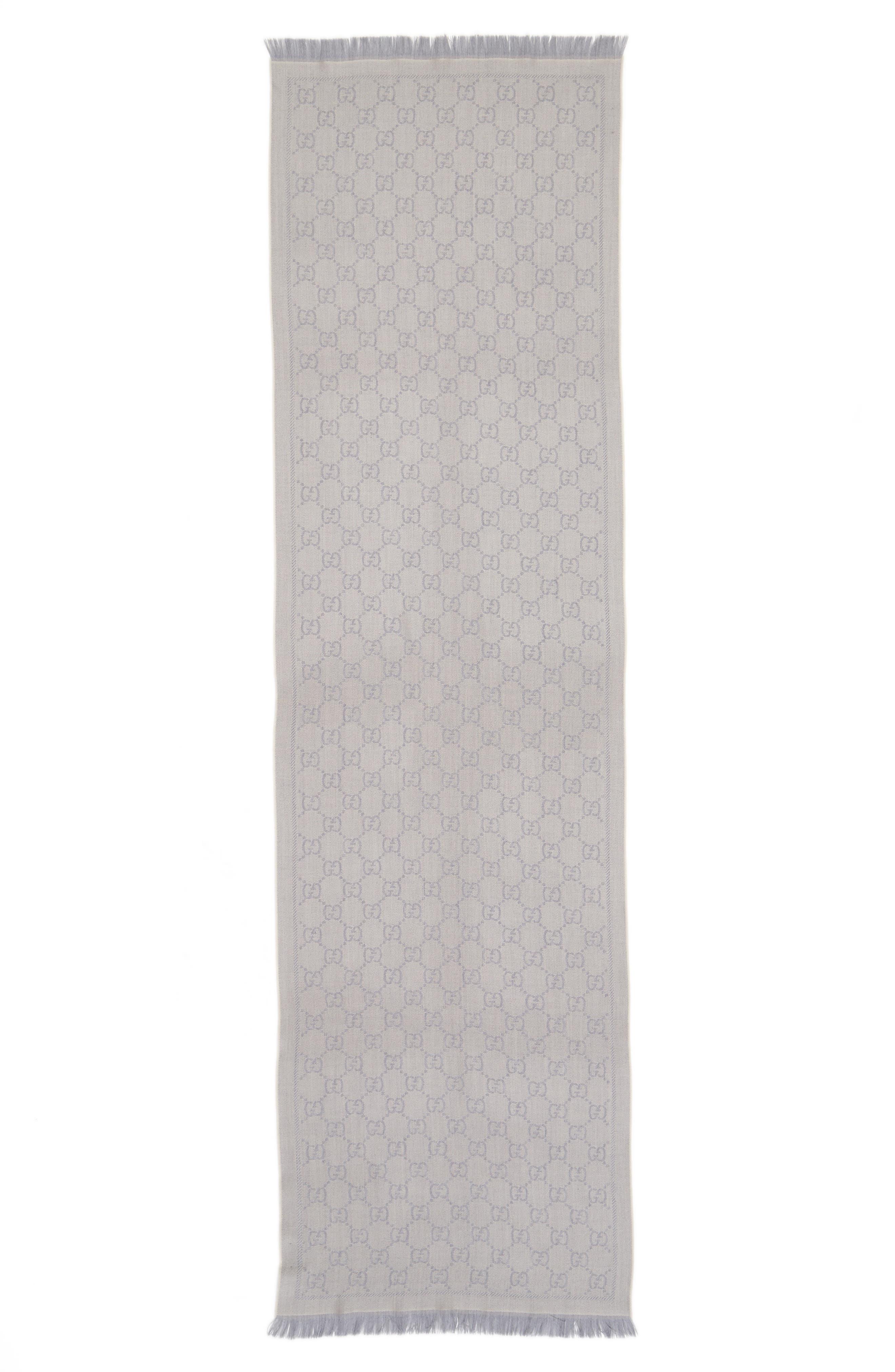 GG Jacquard Wool Scarf,                             Alternate thumbnail 2, color,                             1763 Zinc/Ight Grey
