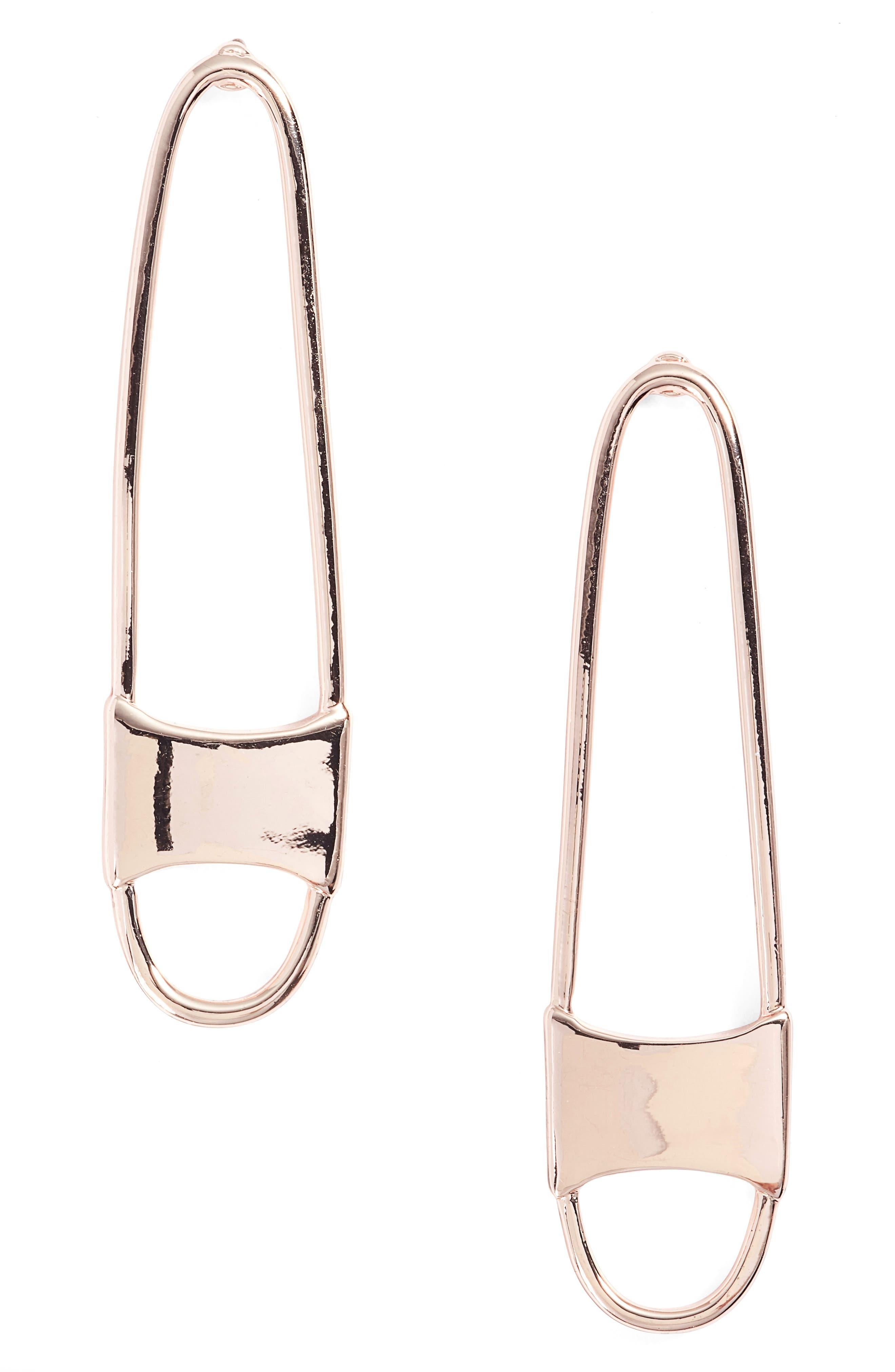 Runway Pin Drop Earrings,                             Main thumbnail 1, color,                             Rose Gold