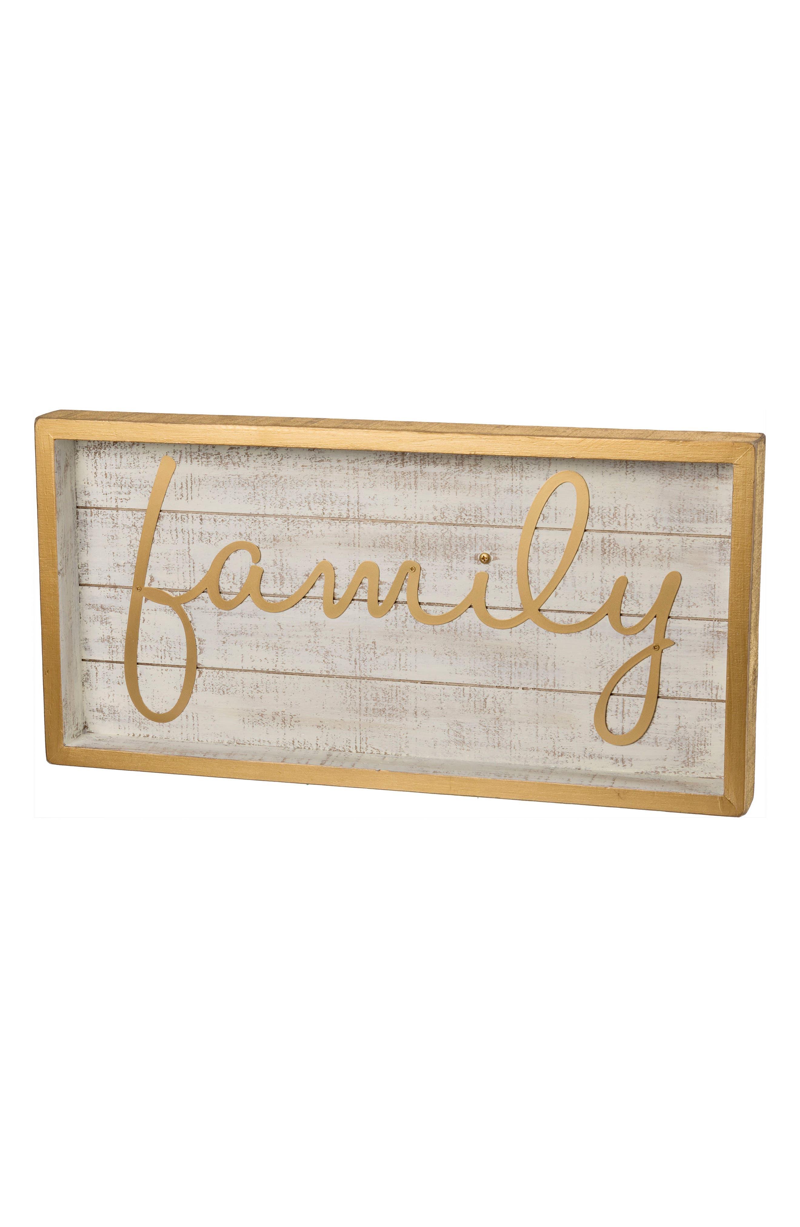 Family Box Sign,                             Main thumbnail 1, color,                             Gold