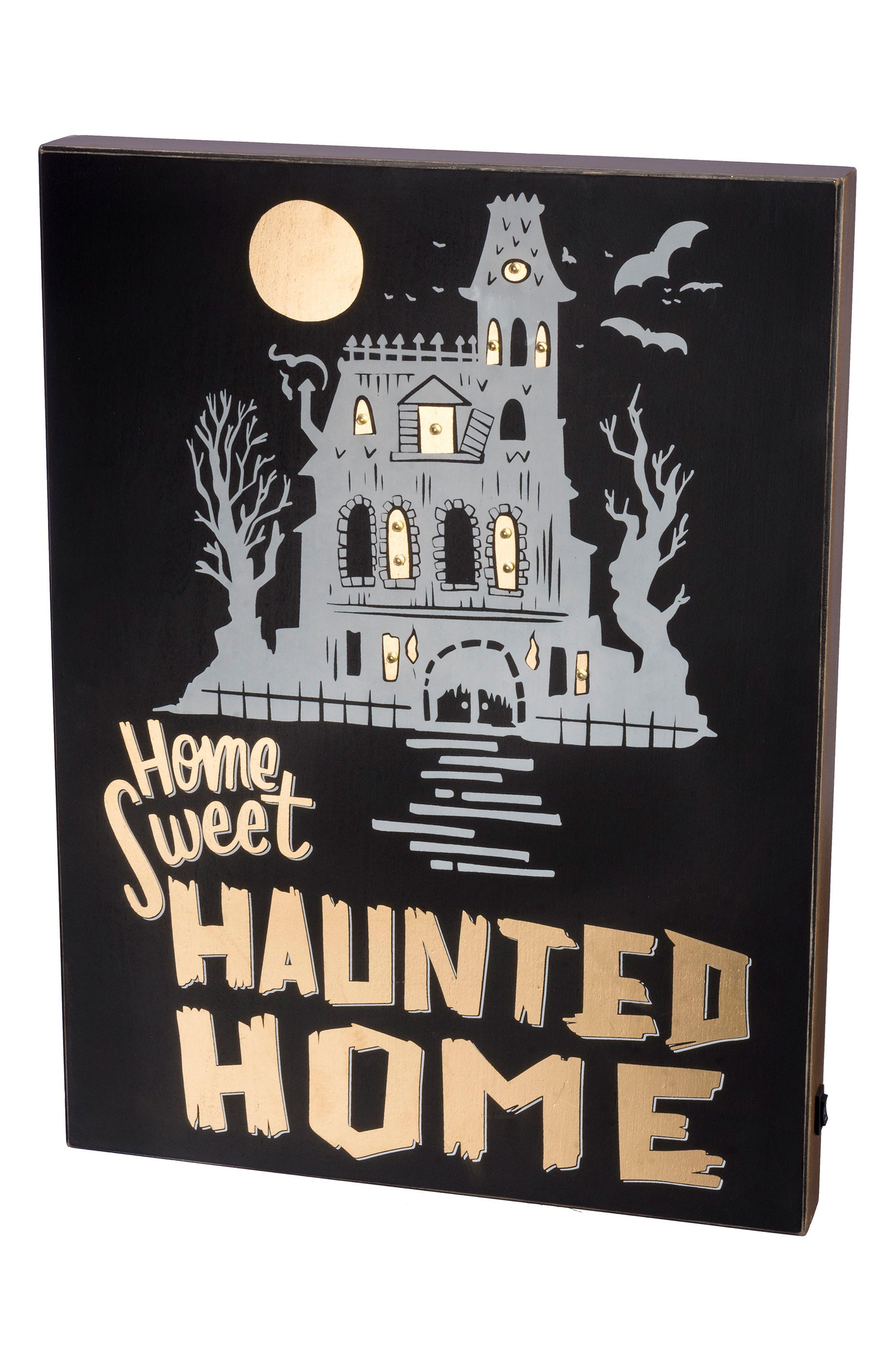 Haunted Home LED Box Sign,                         Main,                         color, Black