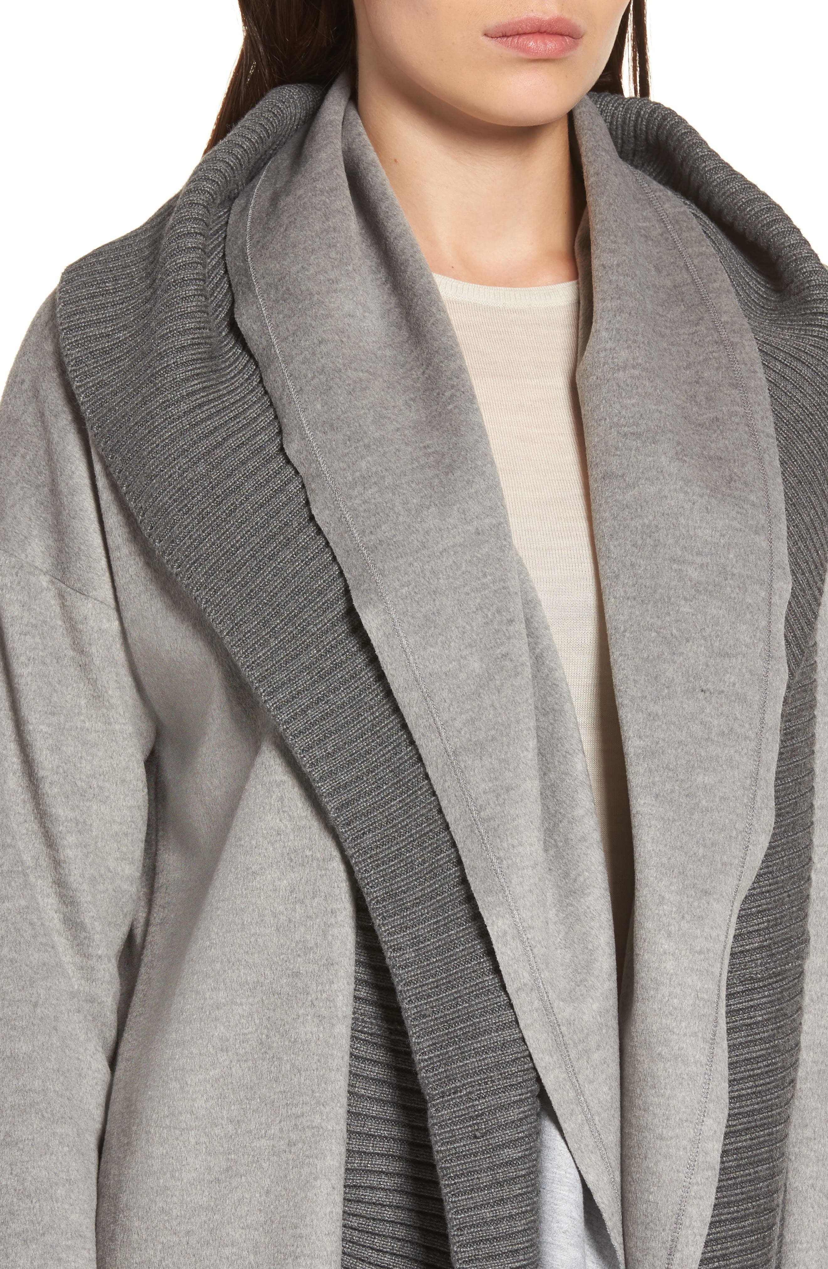 Brandy Stone Grey Duster Coat,                             Alternate thumbnail 4, color,                             Stone Grey