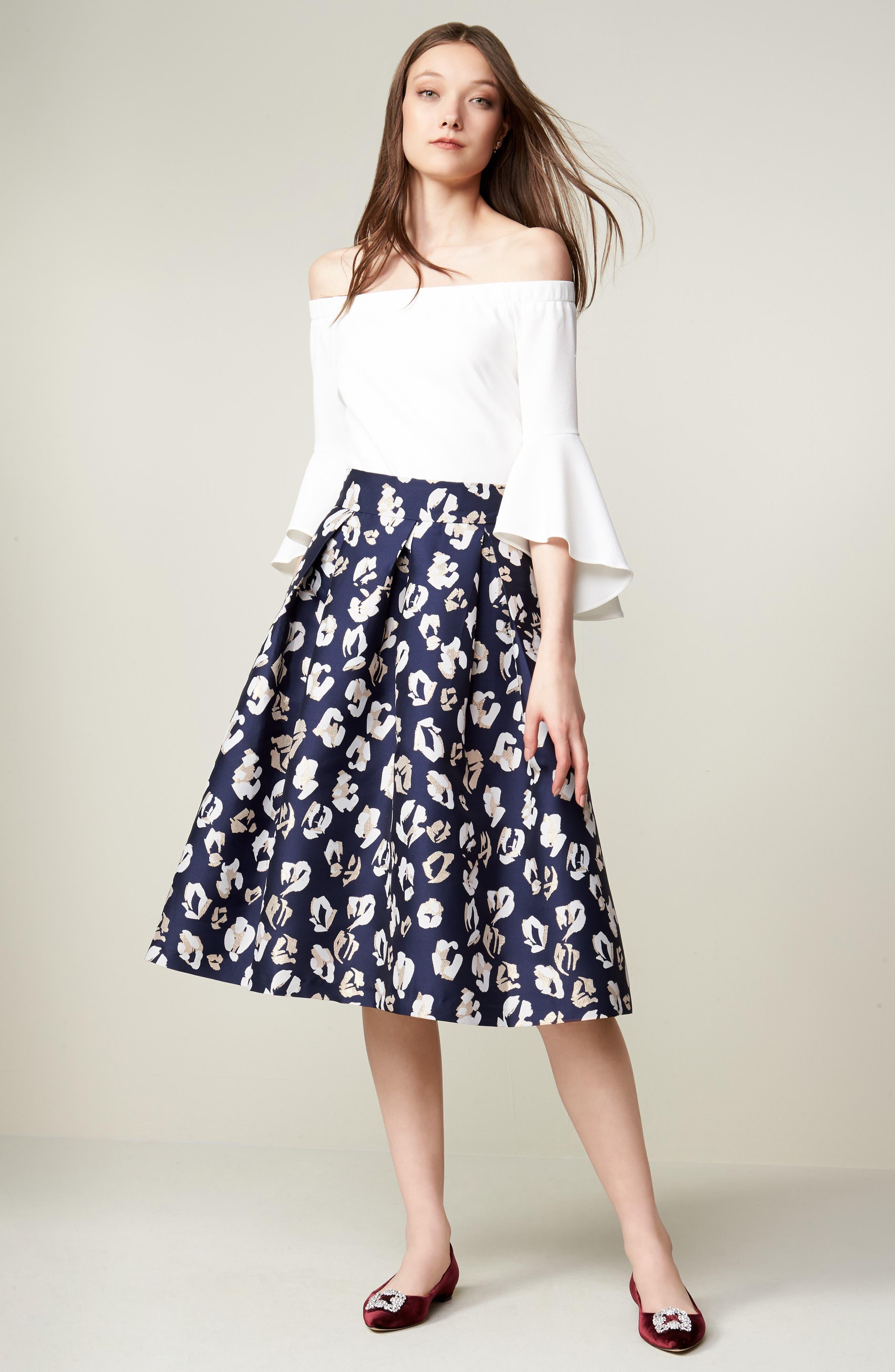 Alternate Image 2  - Eliza J Pleated Abstract Jacquard Skirt