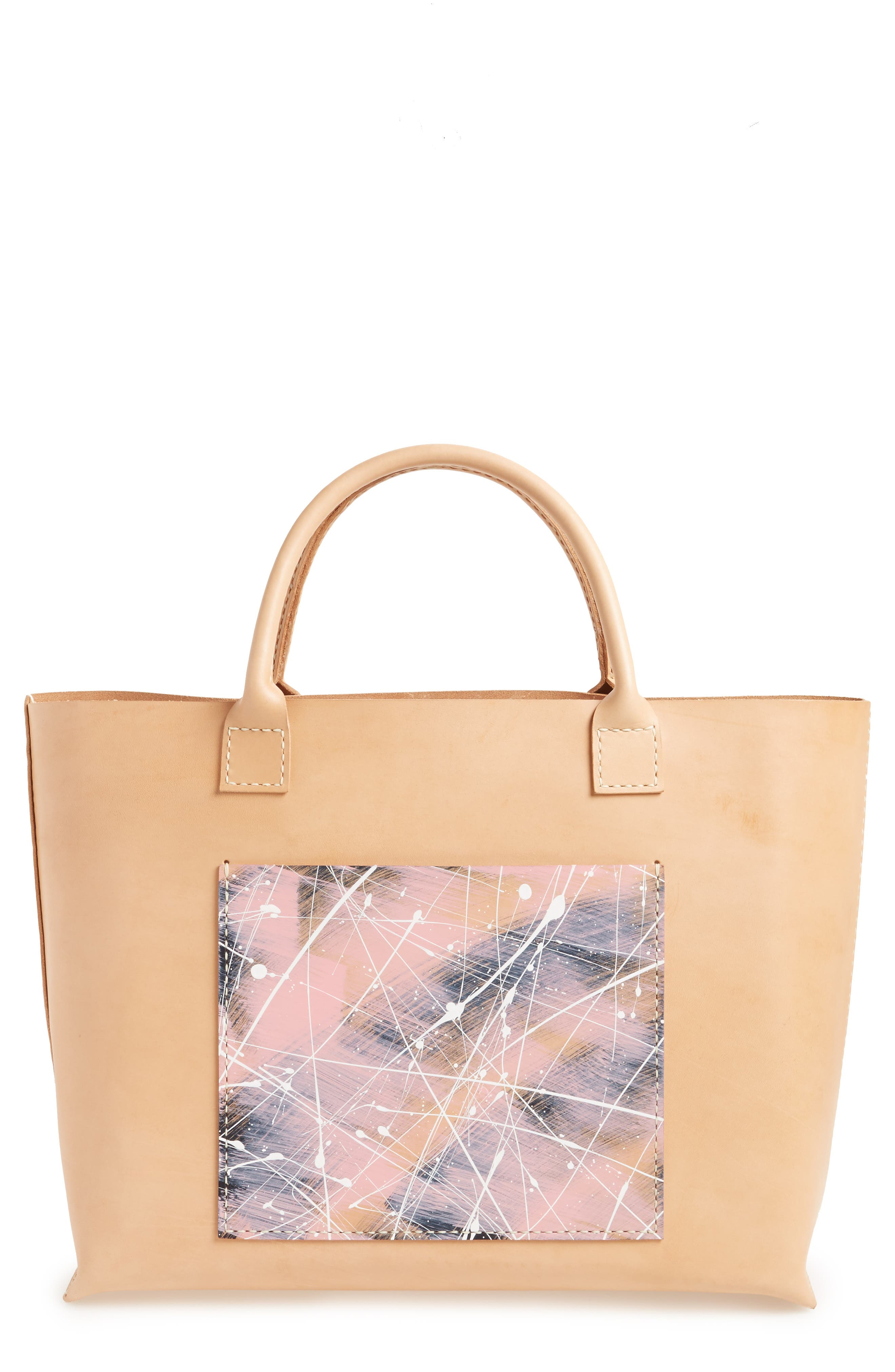 Made Solid Splatter Pocket Leather Tote