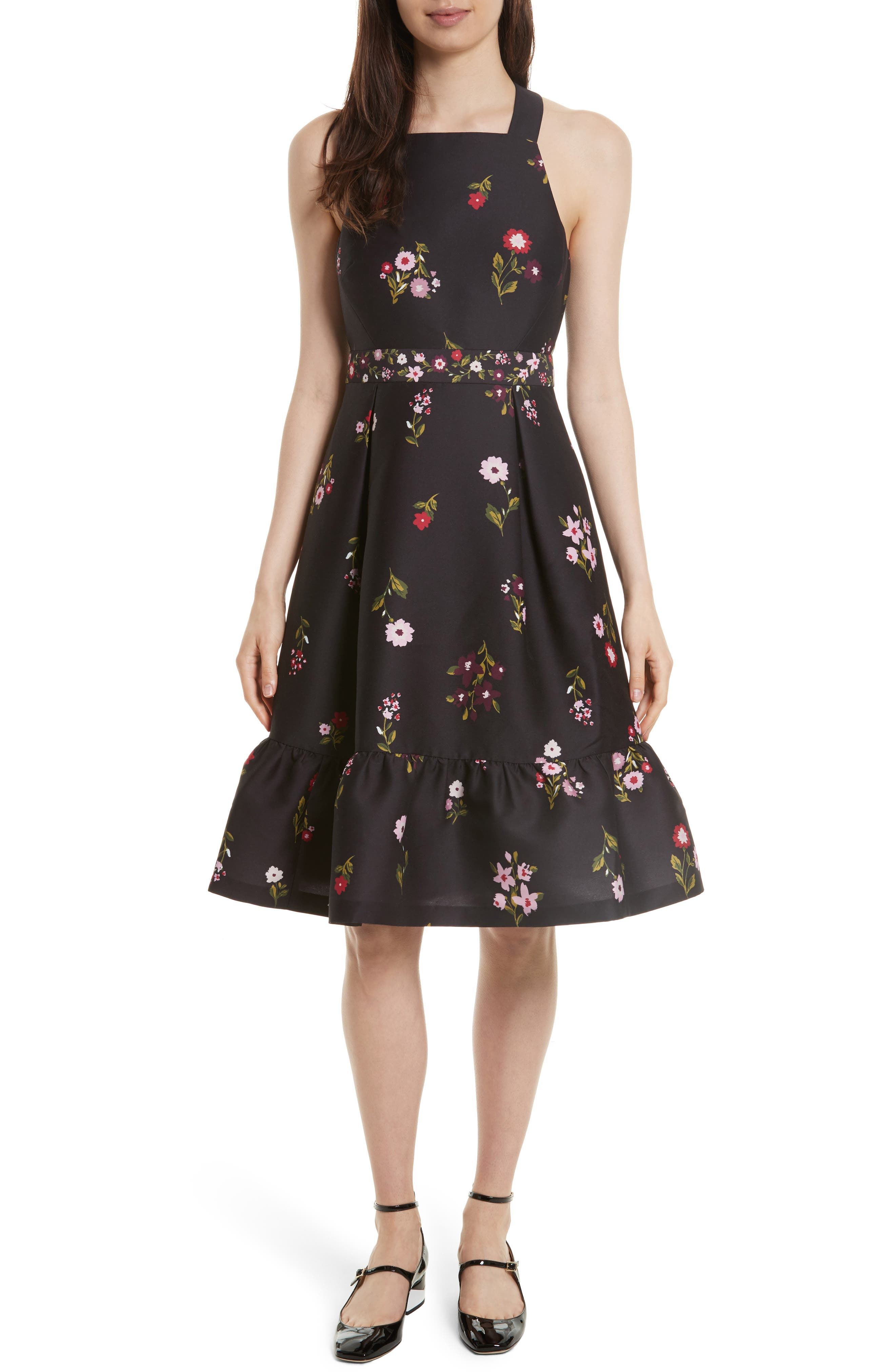 in bloom fit & flare dress,                         Main,                         color, Black