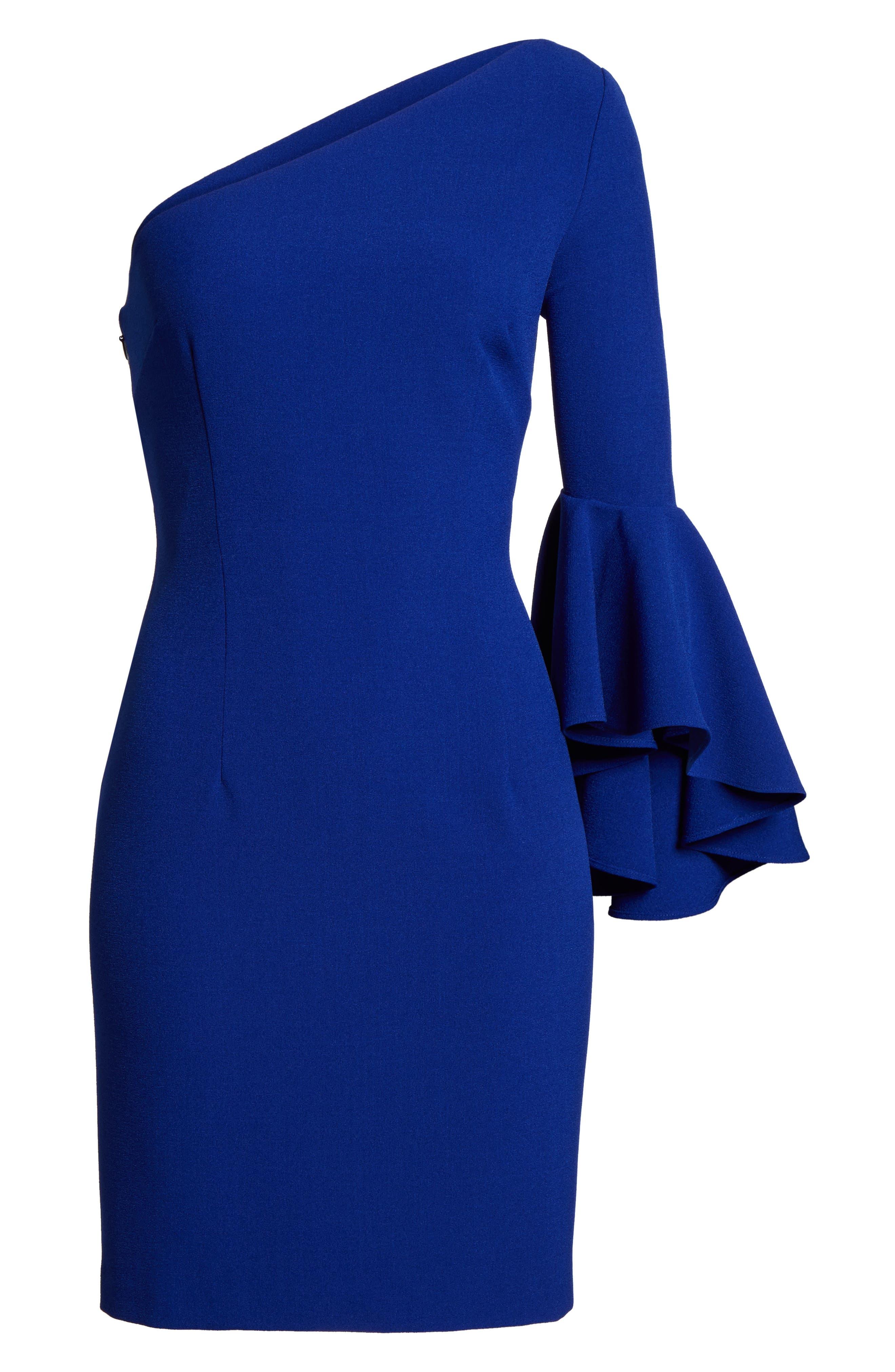 One-Shoulder Crepe Sheath Dress,                             Alternate thumbnail 6, color,                             Blue Cobalt
