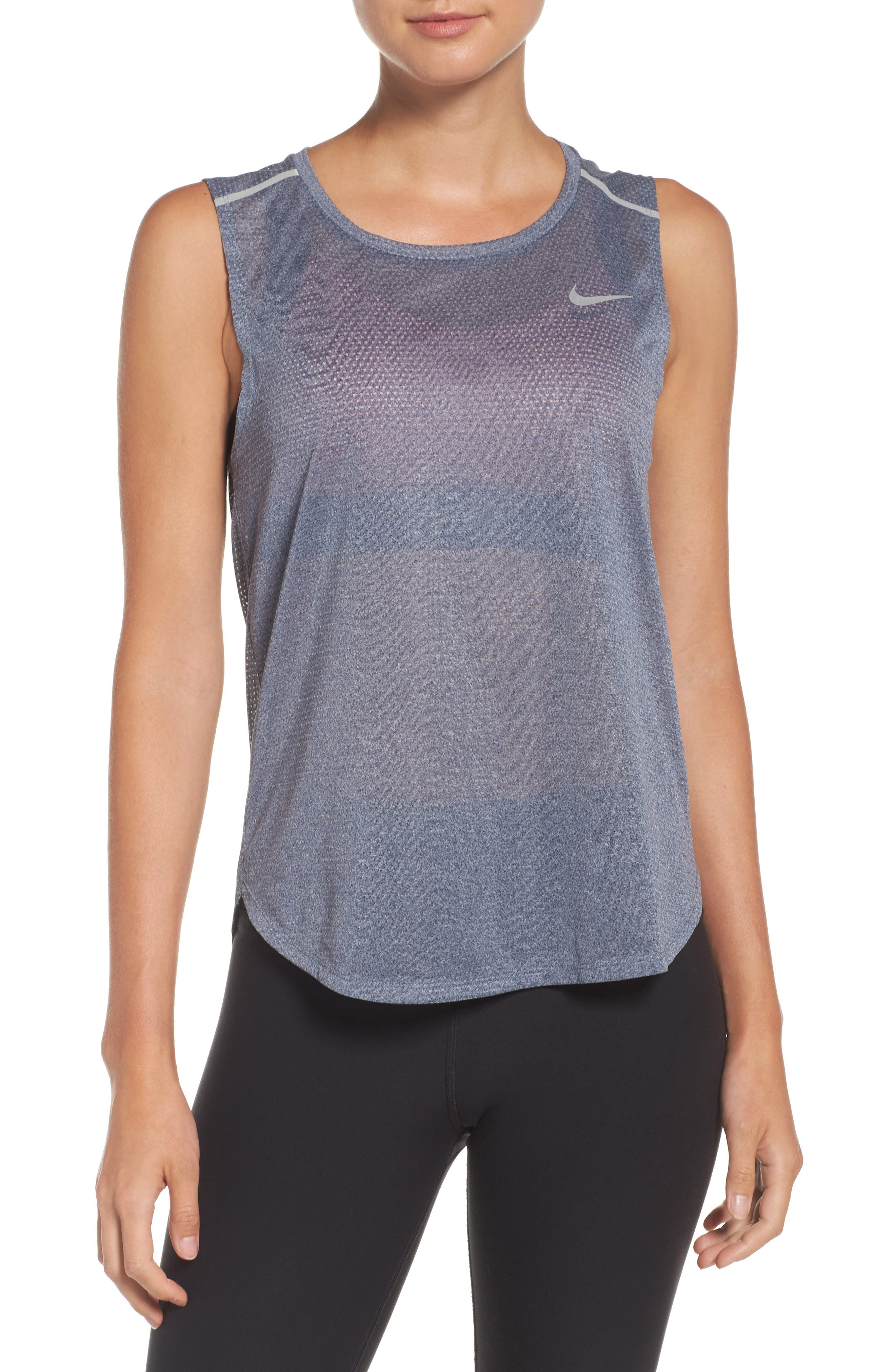 Breathe Running Tank,                         Main,                         color, Thunder Blue/ Heather