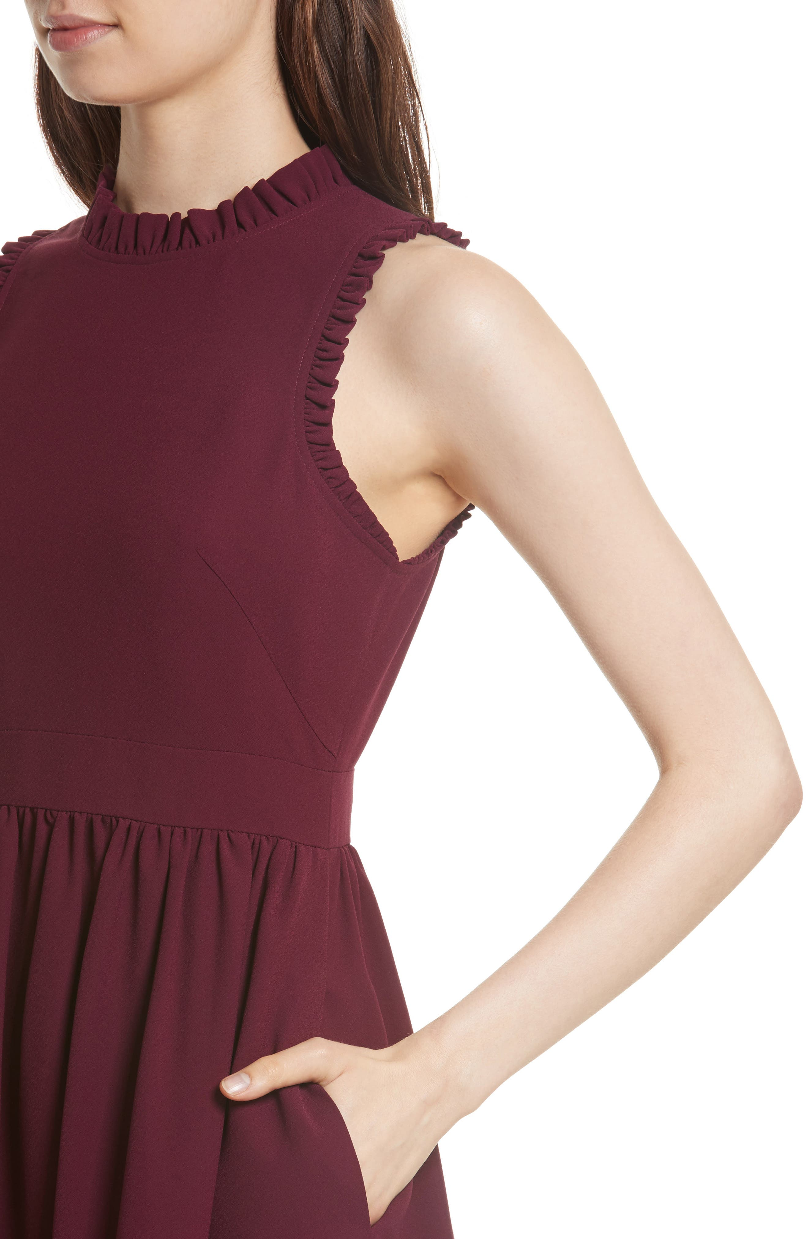 ruffle trim fit & flare dress,                             Alternate thumbnail 4, color,                             Burgundy