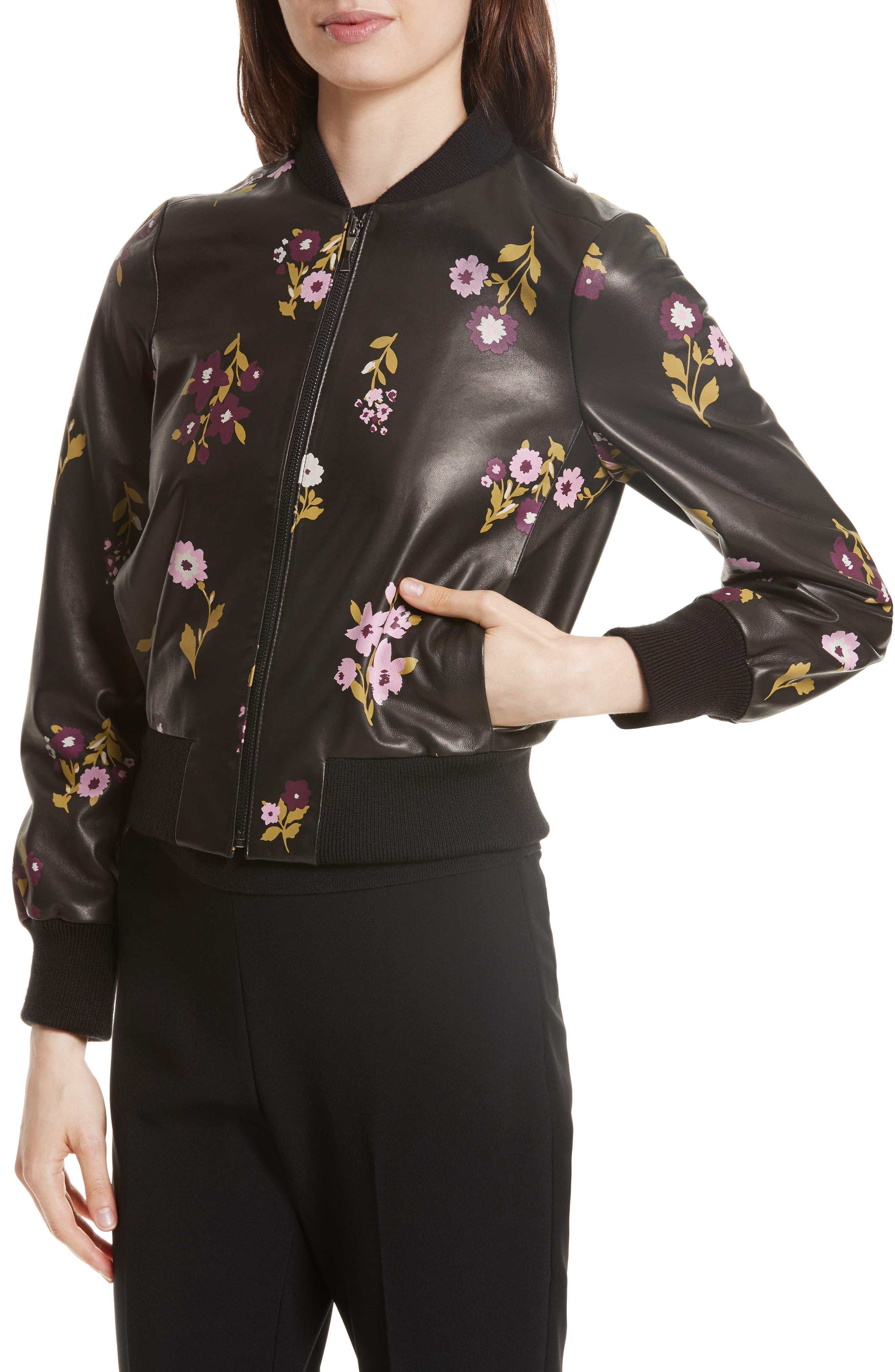 in bloom leather bomber jacket,                             Alternate thumbnail 4, color,                             Black