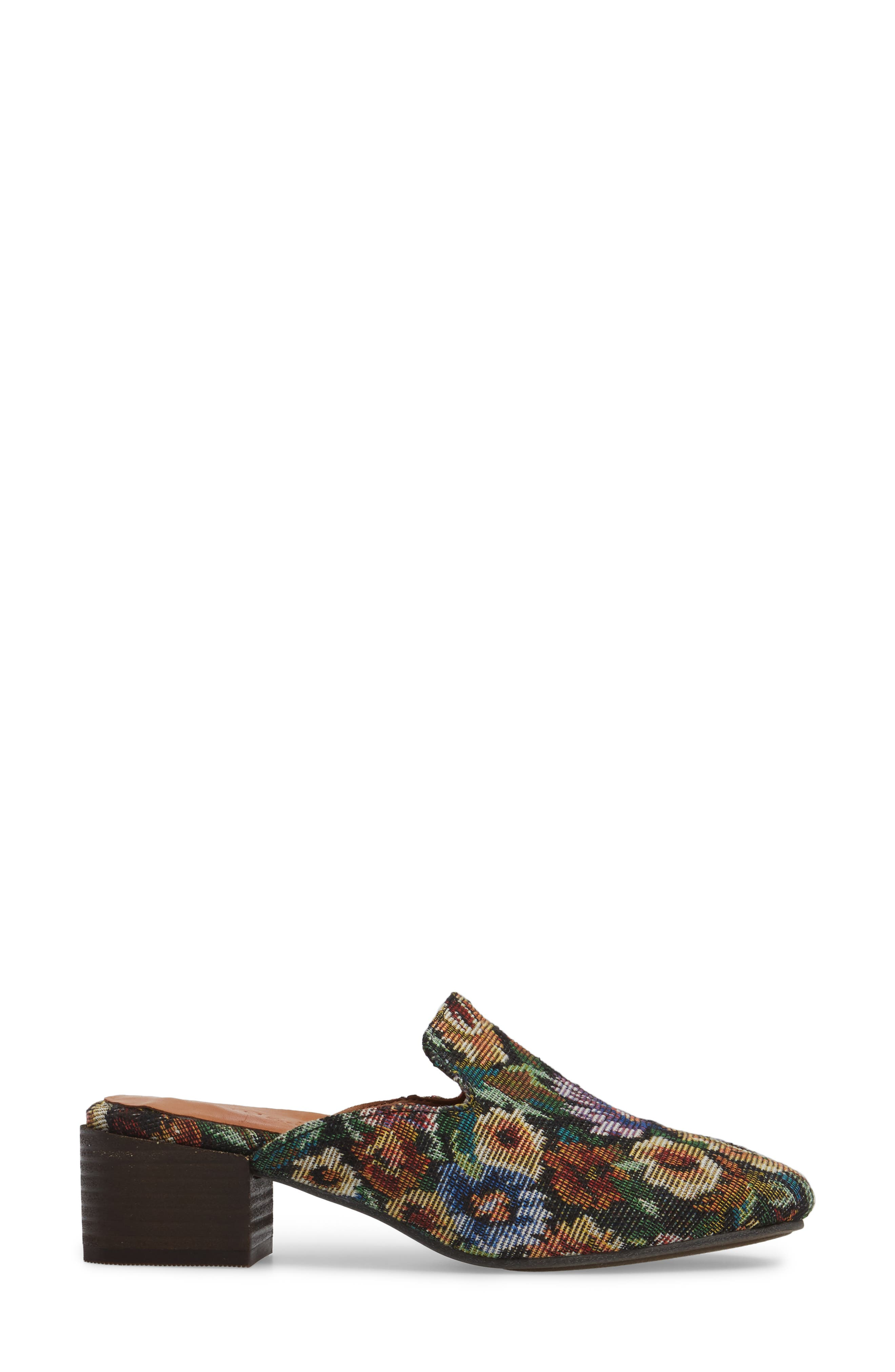 Eida Loafer Mule,                             Alternate thumbnail 3, color,                             Floral Fabric
