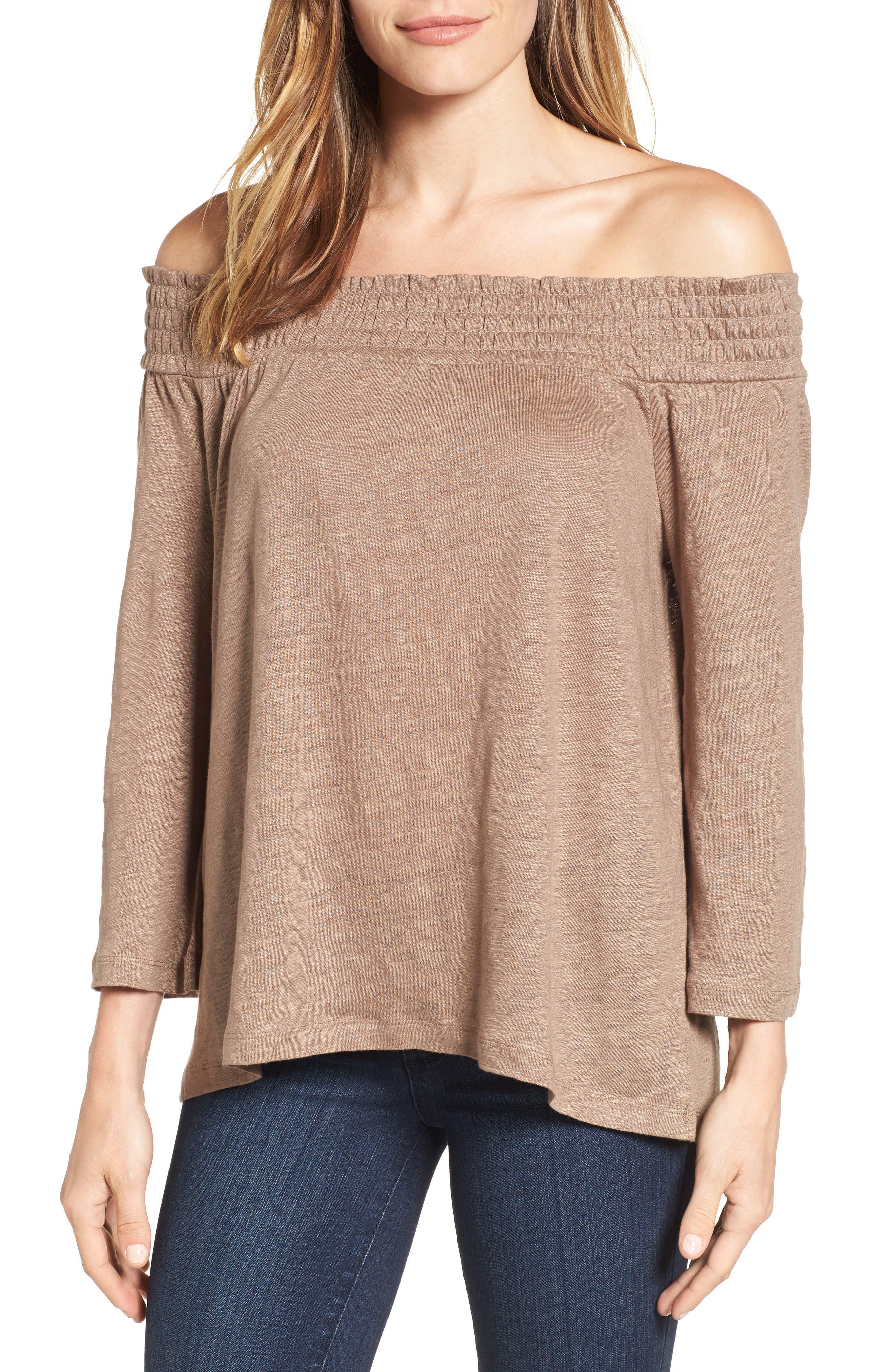 Caslon® Off the Shoulder Linen Knit Top (Regular & Petite)