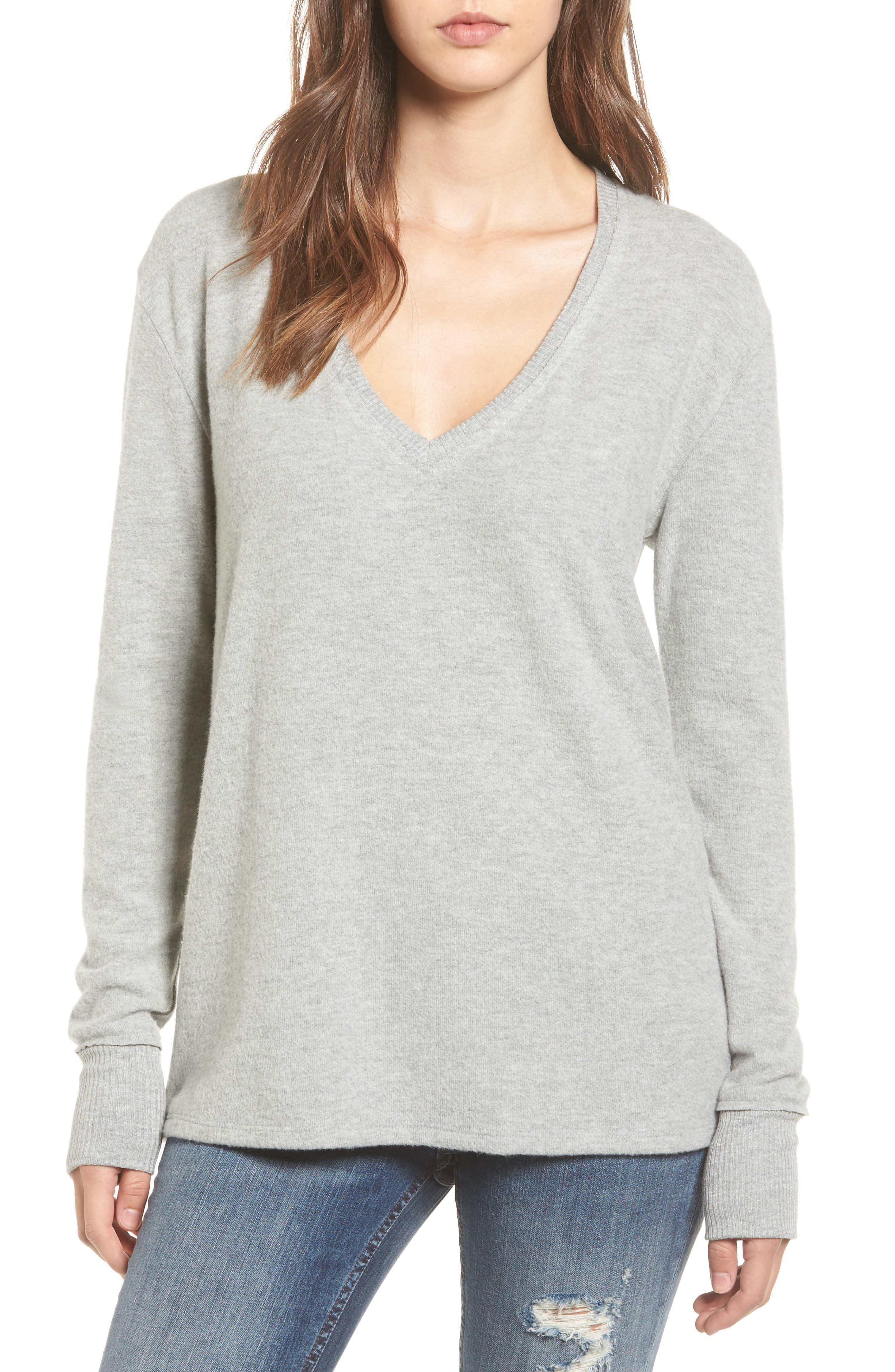 V-Neck Pullover,                         Main,                         color, Grey Medium Heather