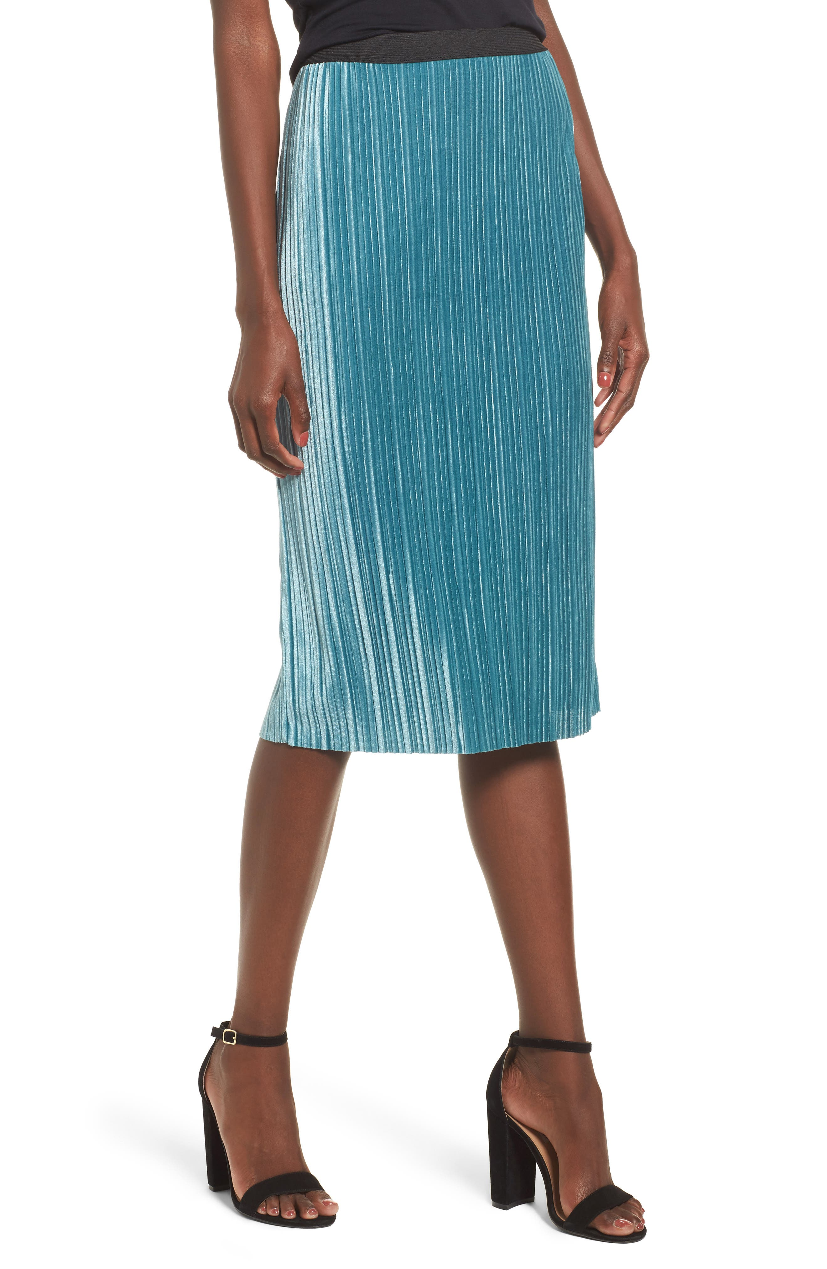 Velour Pencil Skirt,                         Main,                         color, Teal Hydro