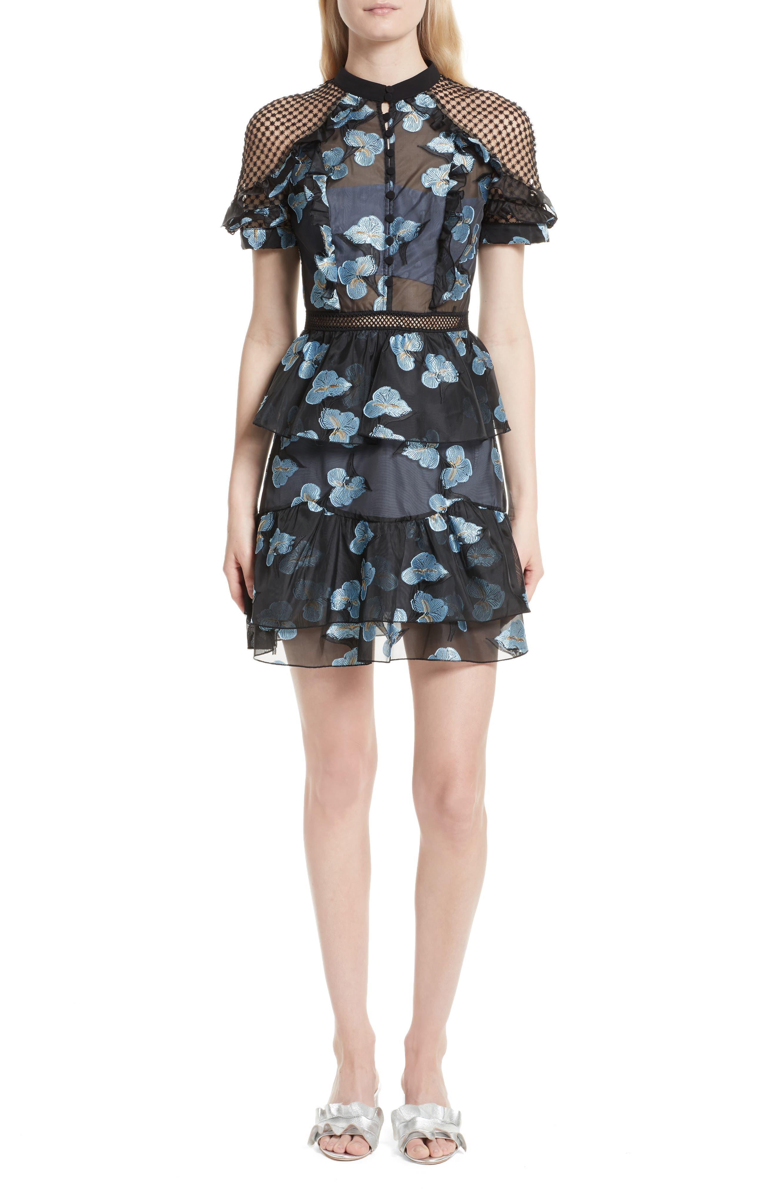 Ruffle Fil Coupé Minidress,                         Main,                         color, Blue