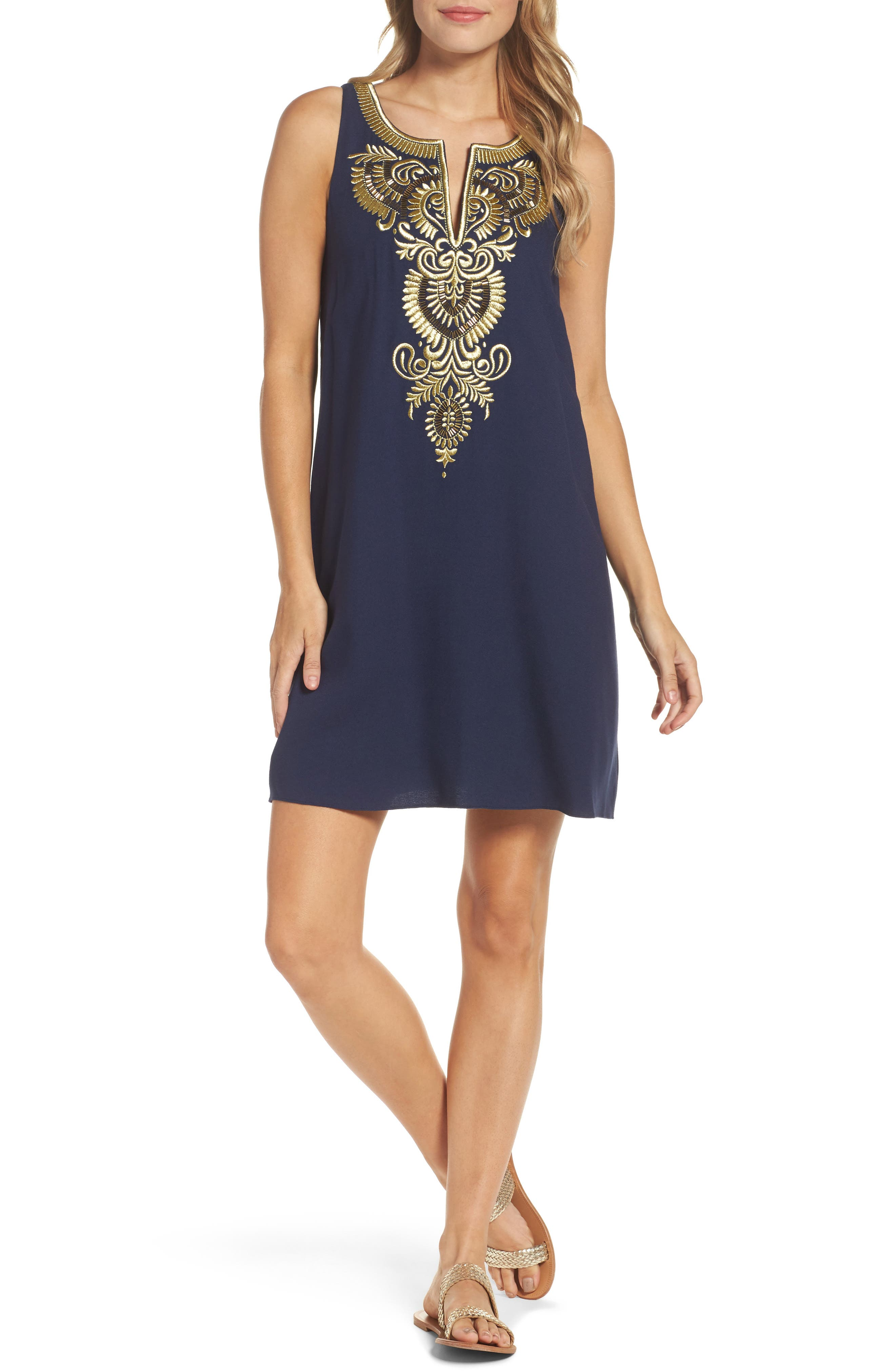 Aubra Embroidered Shift Dress,                         Main,                         color, True Navy