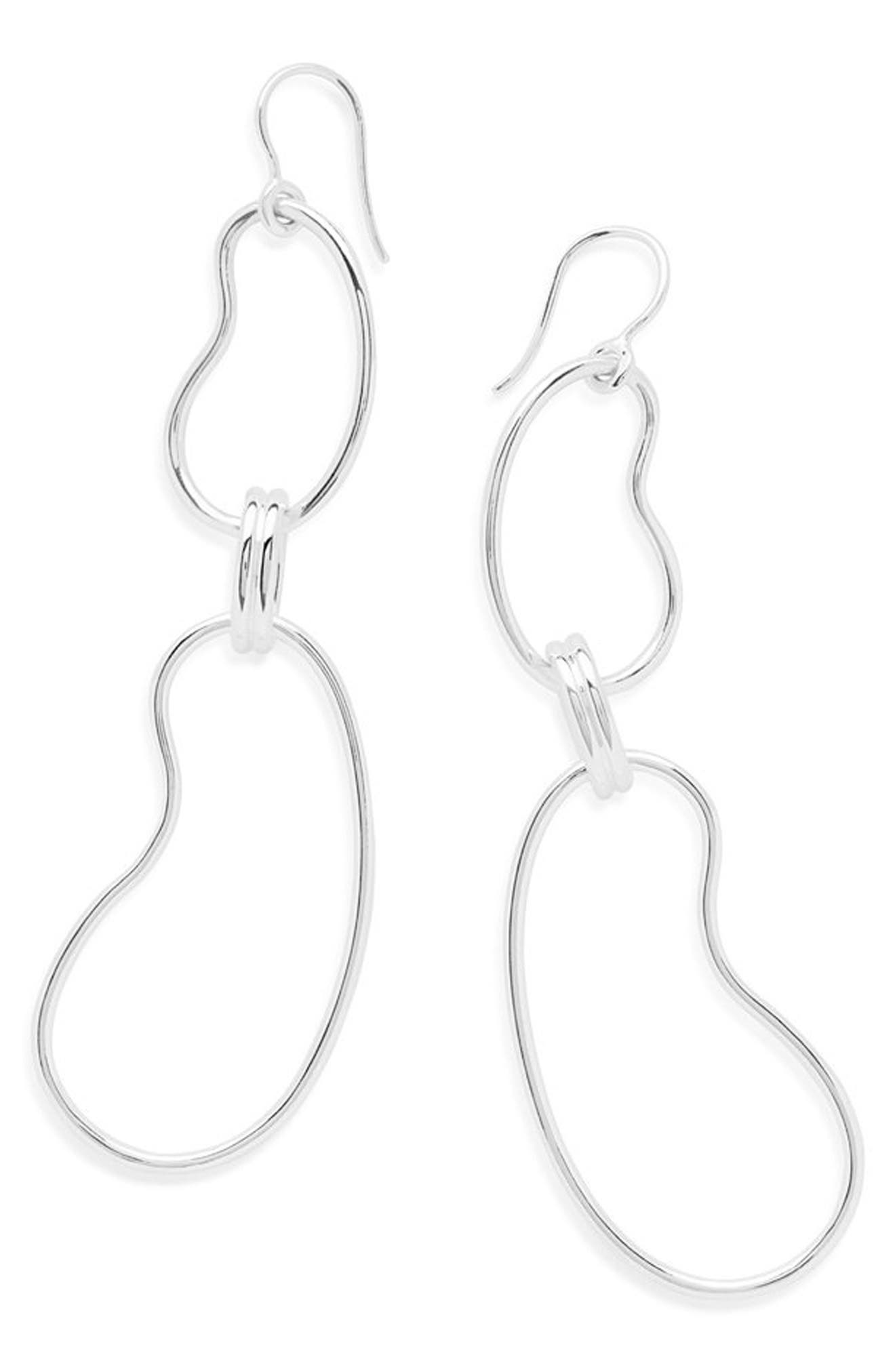 Classico Kidney Oval Link Earrings,                         Main,                         color, Silver