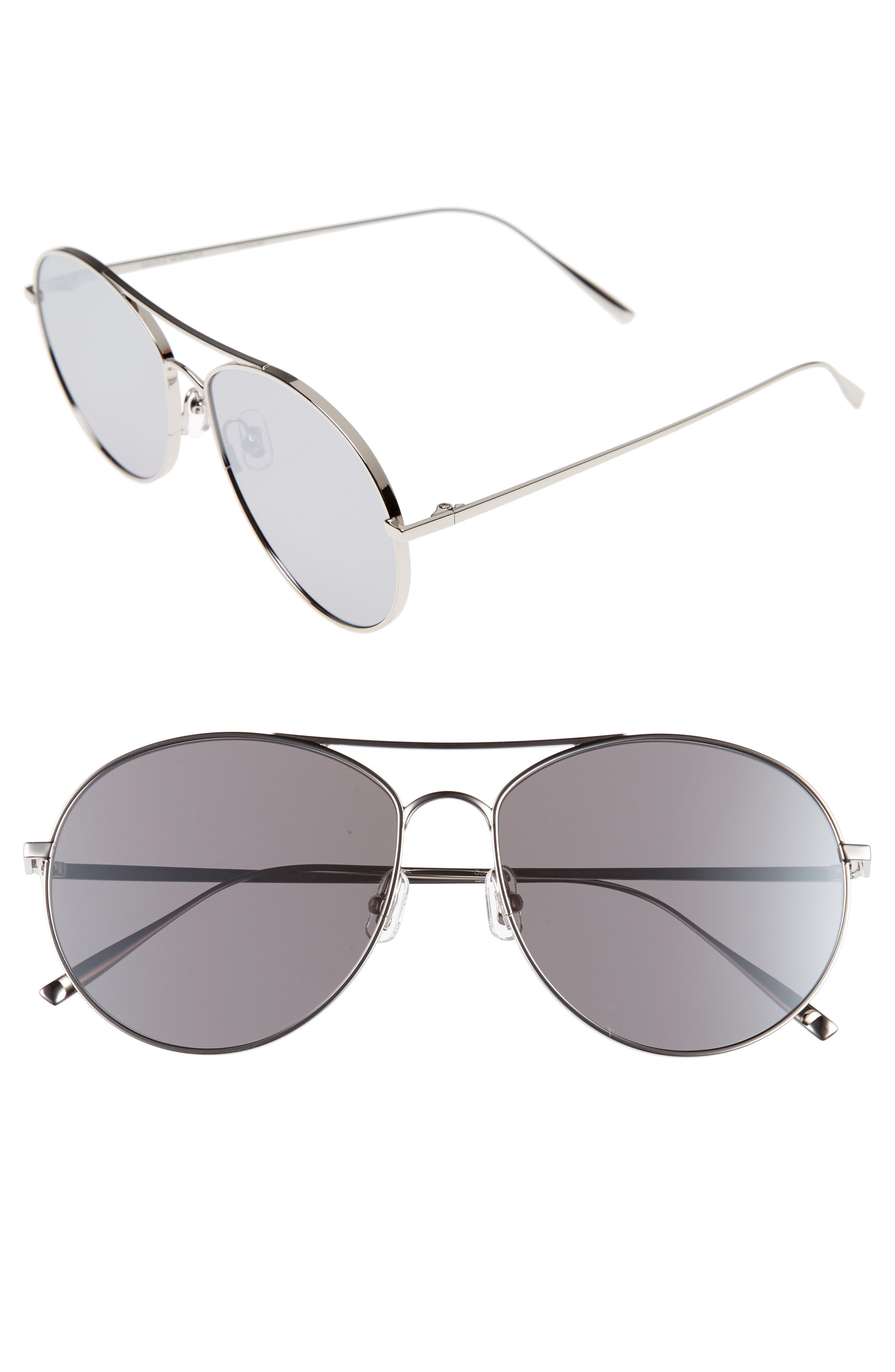 Ranny Ring 58mm Aviator Sunglasses,                             Main thumbnail 1, color,                             Silver Mirror