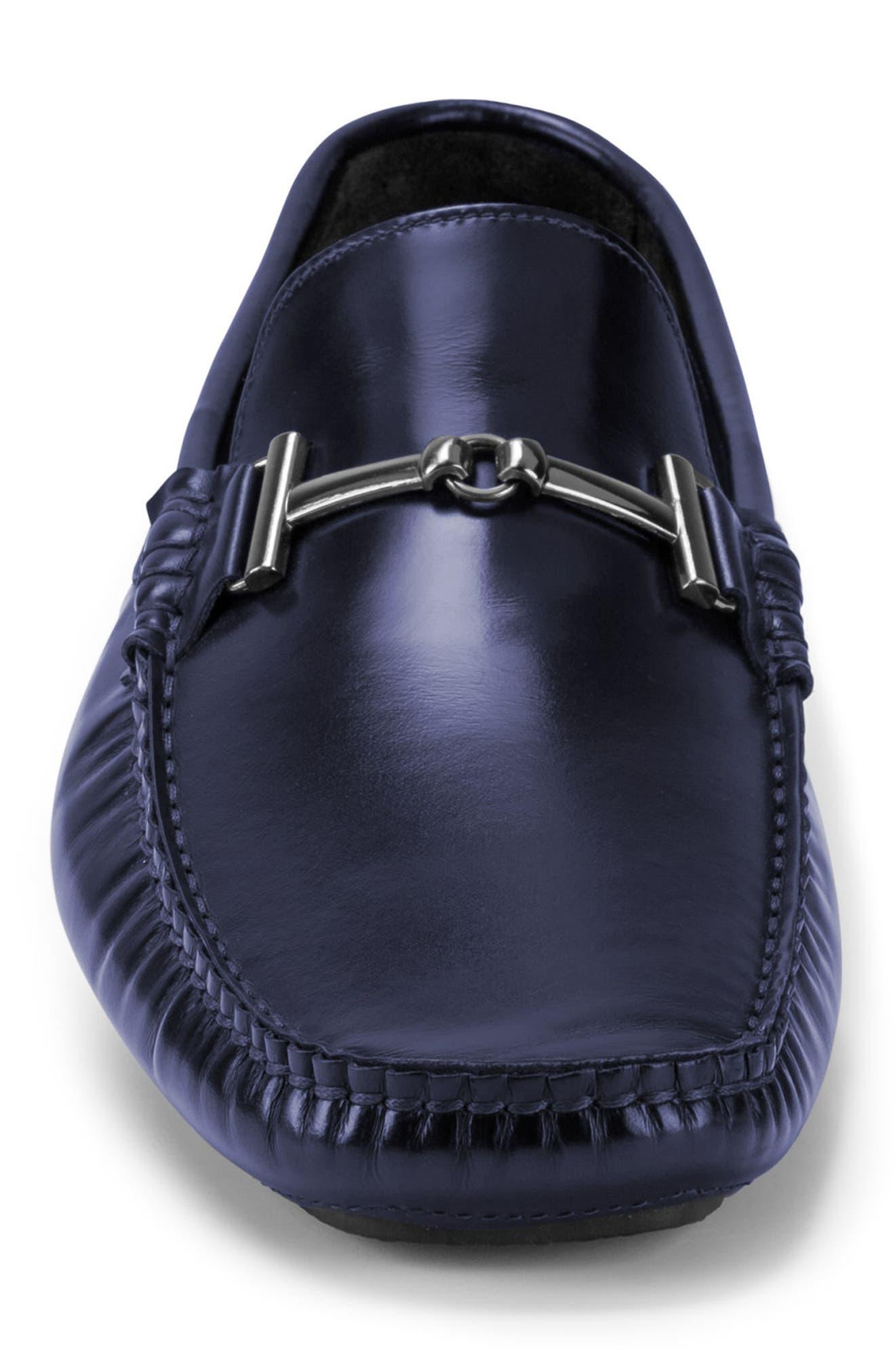 St. Tropez Driving Shoe,                             Alternate thumbnail 4, color,                             Blue Leather