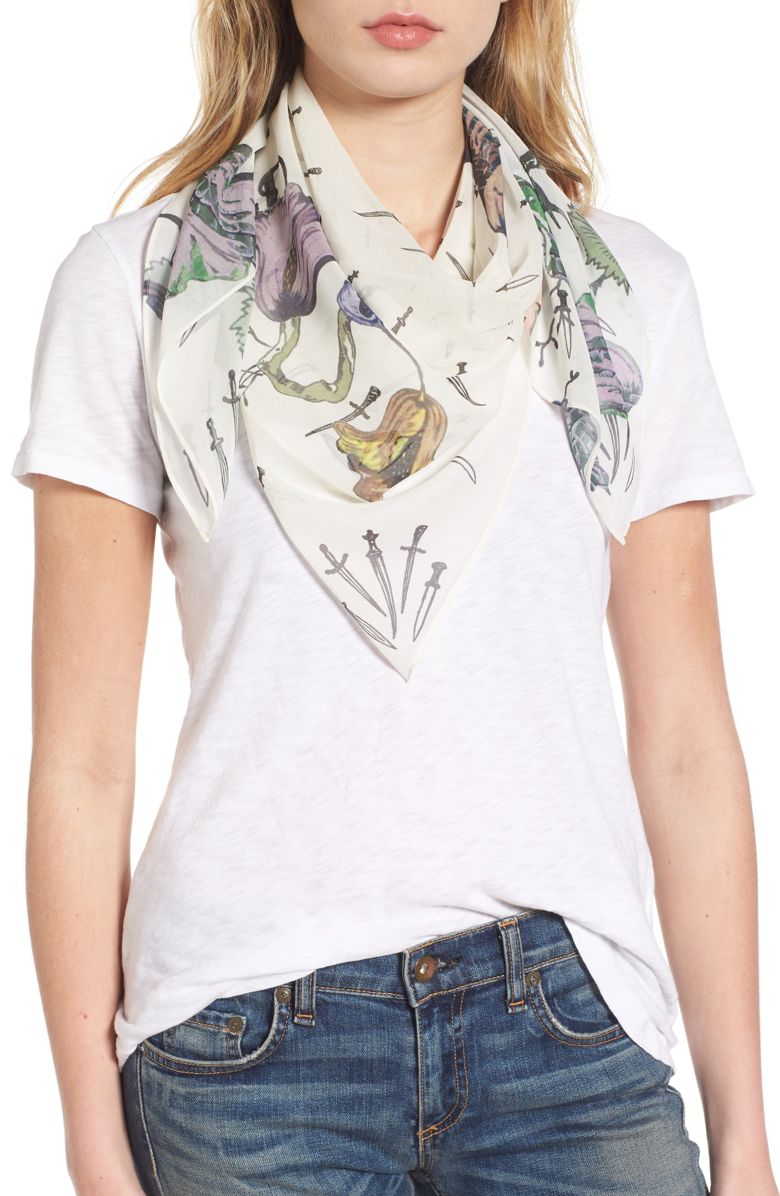 Floral Camo Dagger Silk Scarf,                         Main,                         color, White Floral