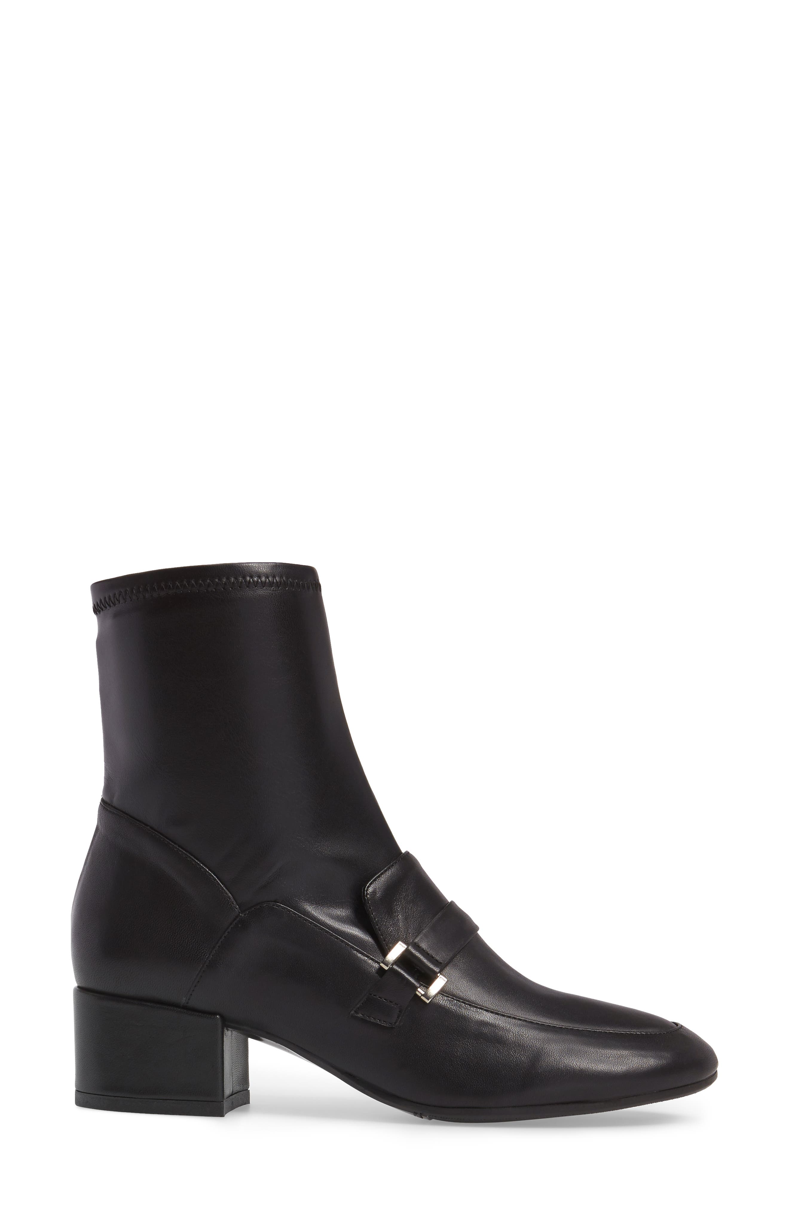 Mod Loafer Bootie,                             Alternate thumbnail 3, color,                             Black Stretch Leather