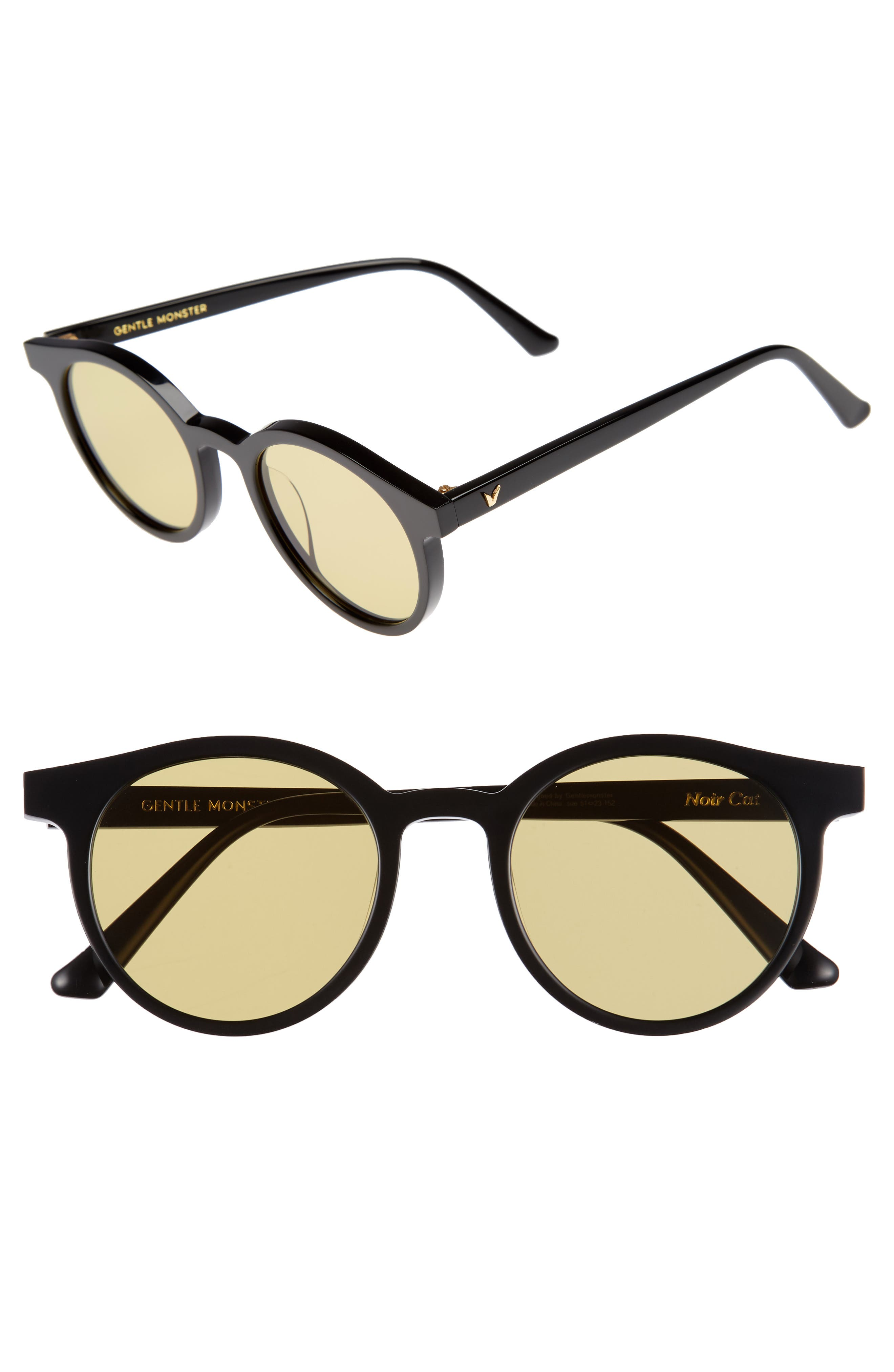 GENTLE MONSTER Noir Cat 51mm Round Sunglasses