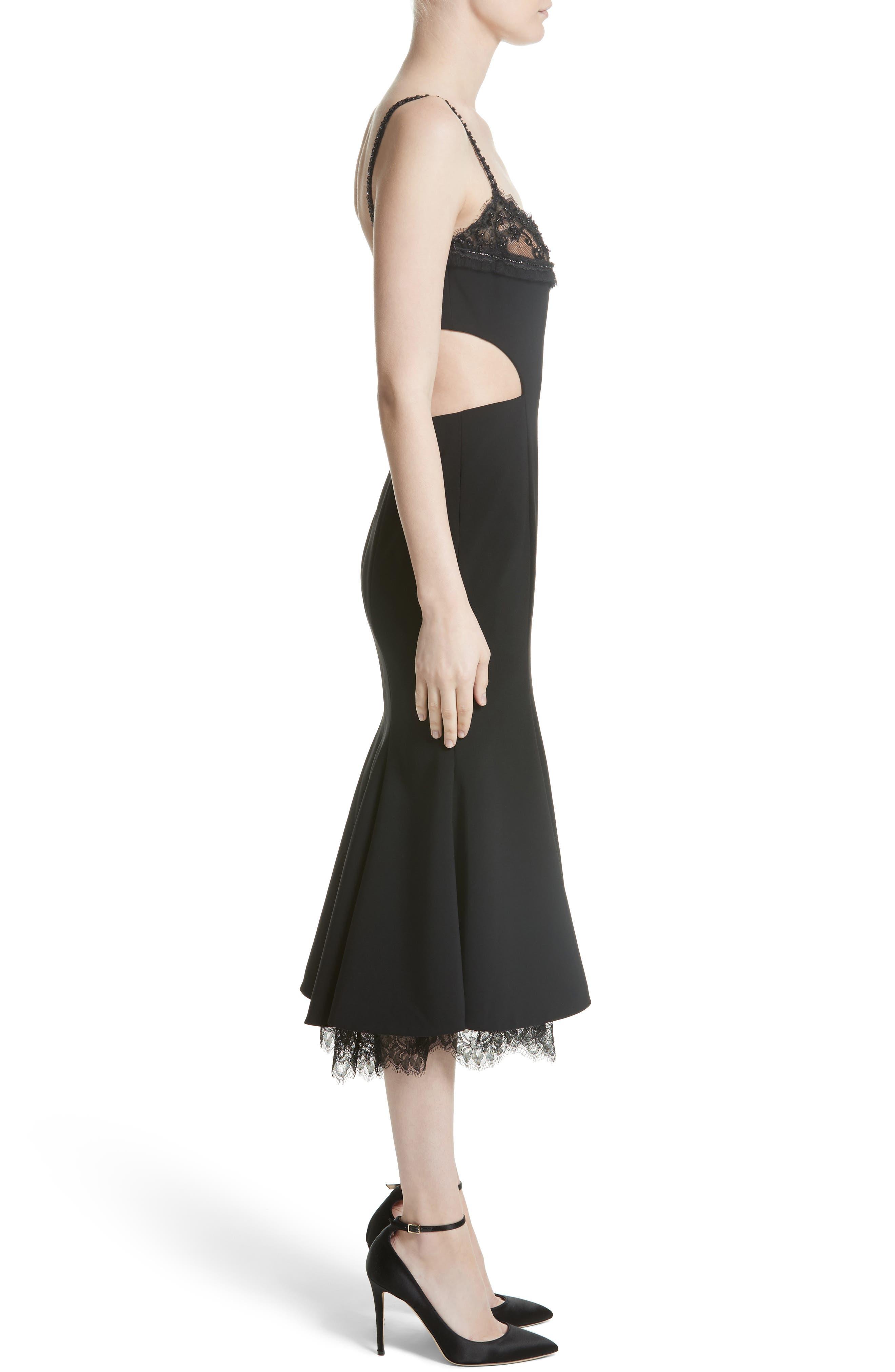 Embellished Fit & Flare Dress,                             Alternate thumbnail 4, color,                             Black