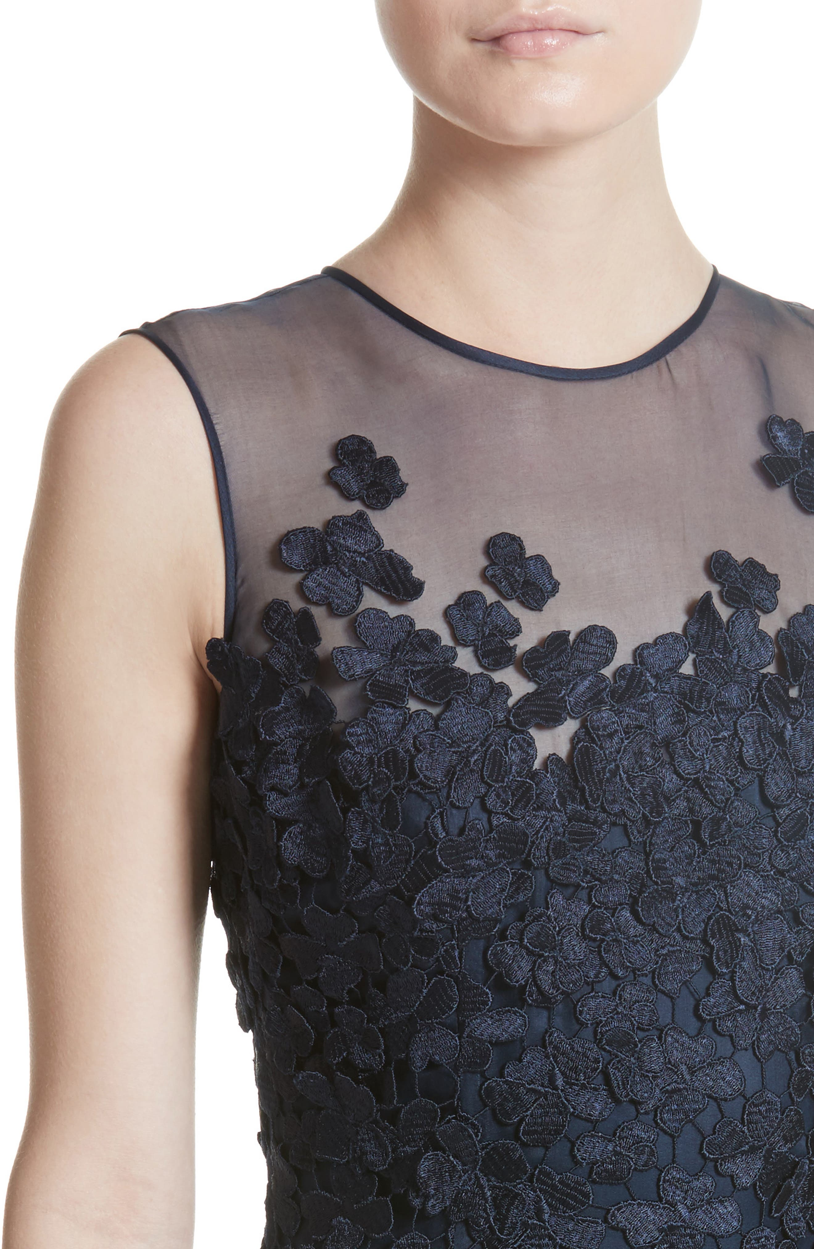 Alternate Image 5  - Carmen Marc Valvo Floral Lace Column Gown