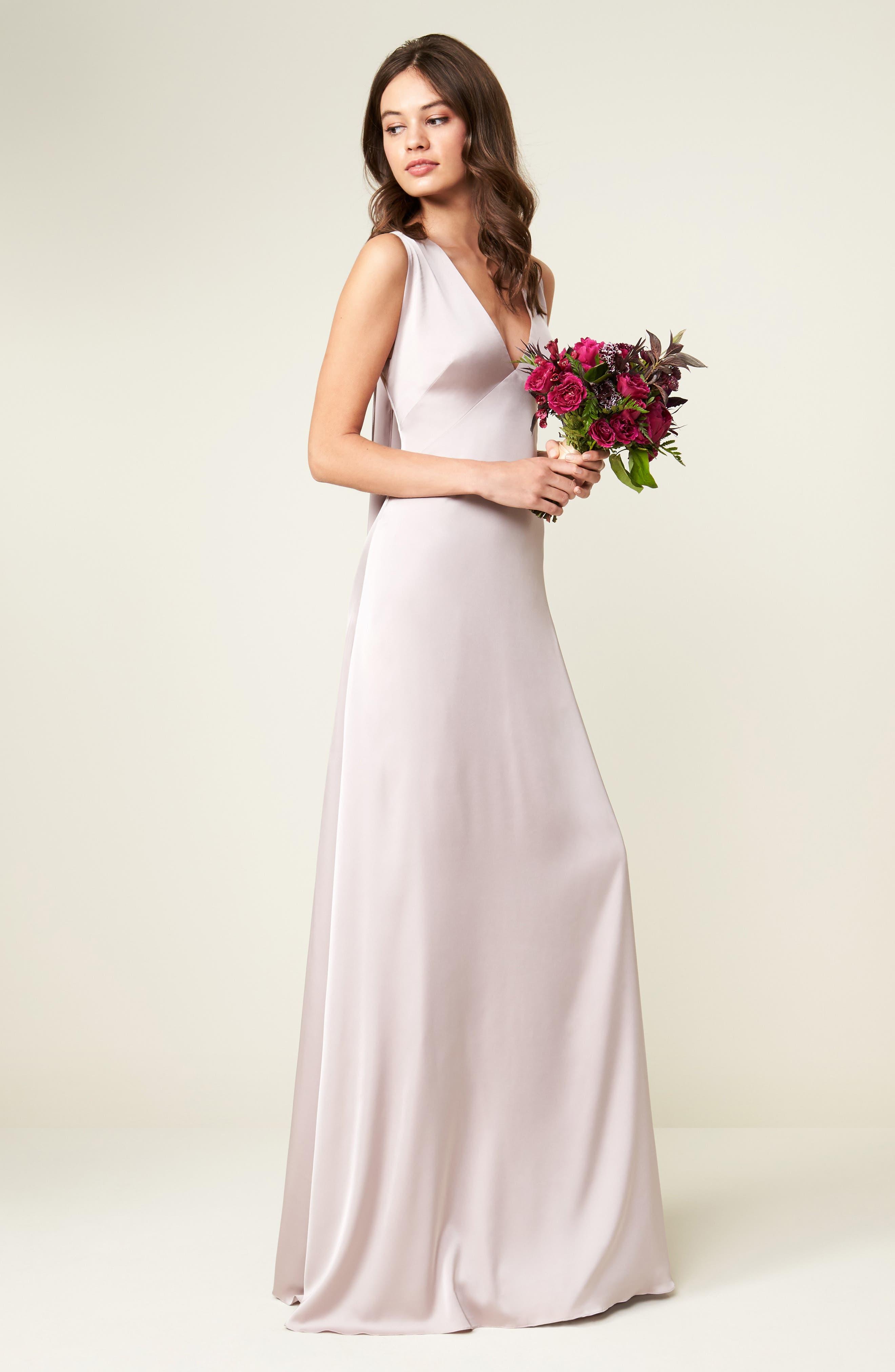 Alternate Image 2  - Monique Lhuillier Bridesmaids Dasha Tie Back Sateen Gown