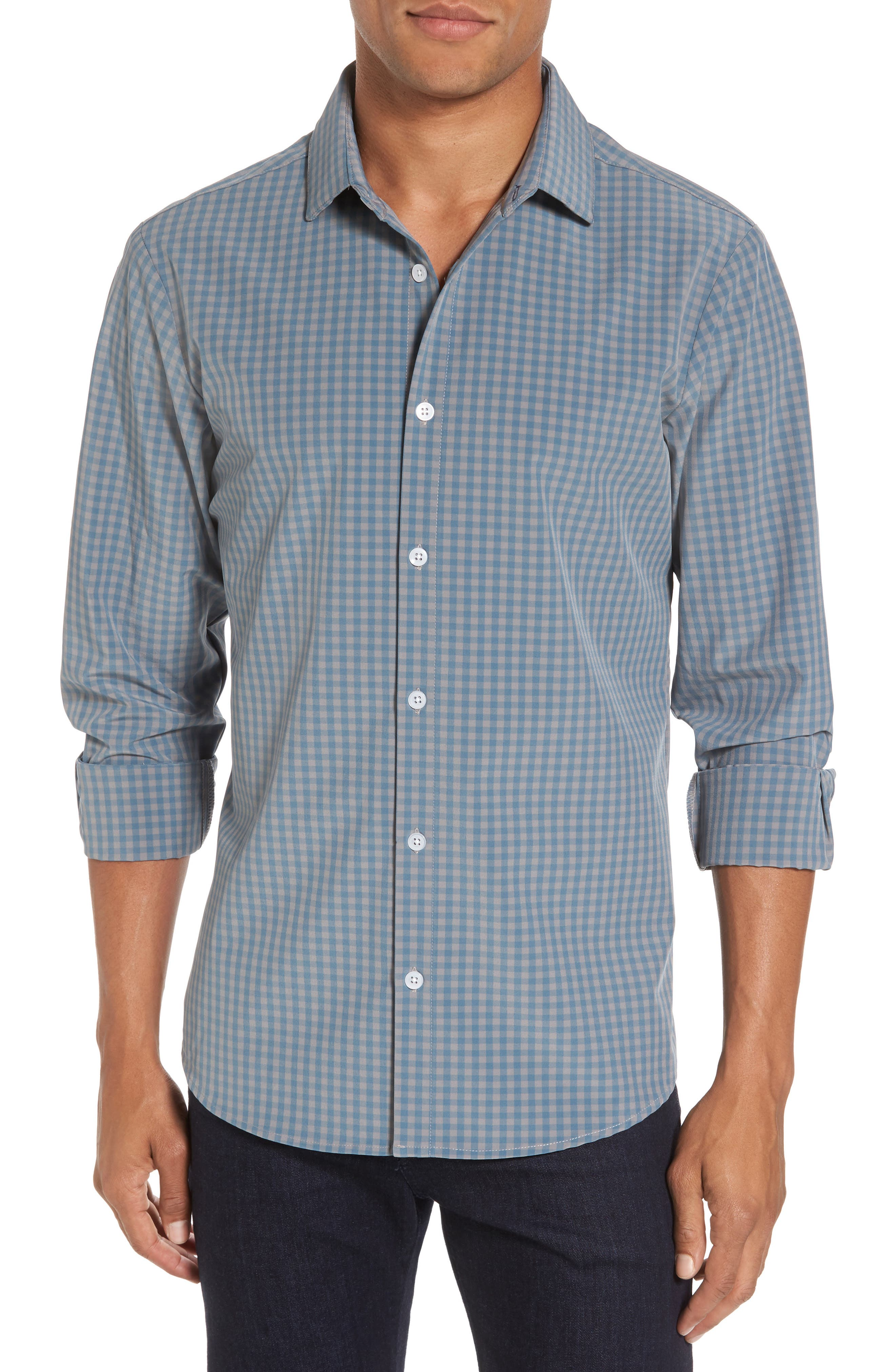 Mizzen+Main Knox Blue Smoke & Grey Gingham Sport Shirt