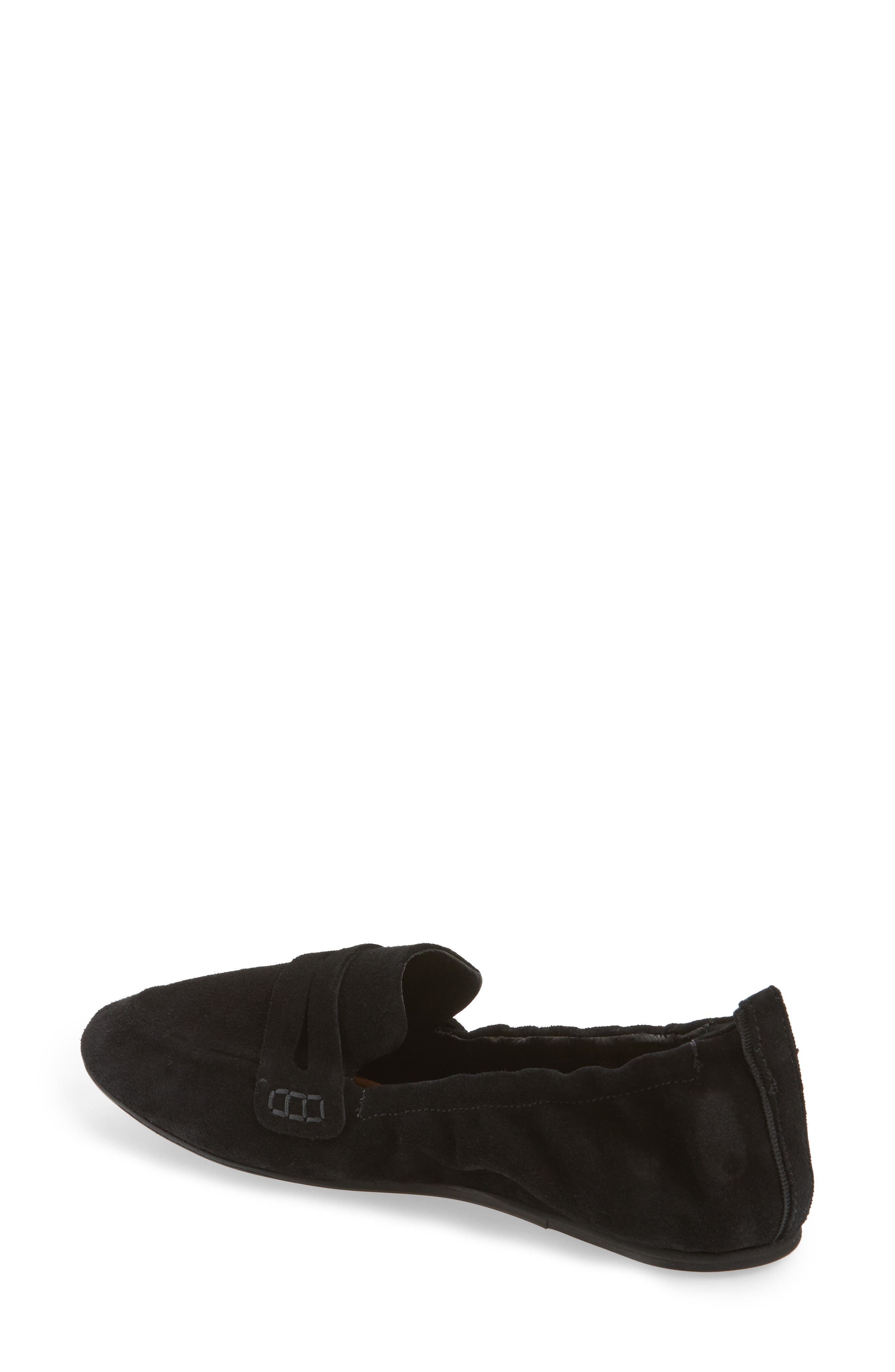 Milly Elastic Loafer Flat,                             Alternate thumbnail 2, color,                             Black Suede