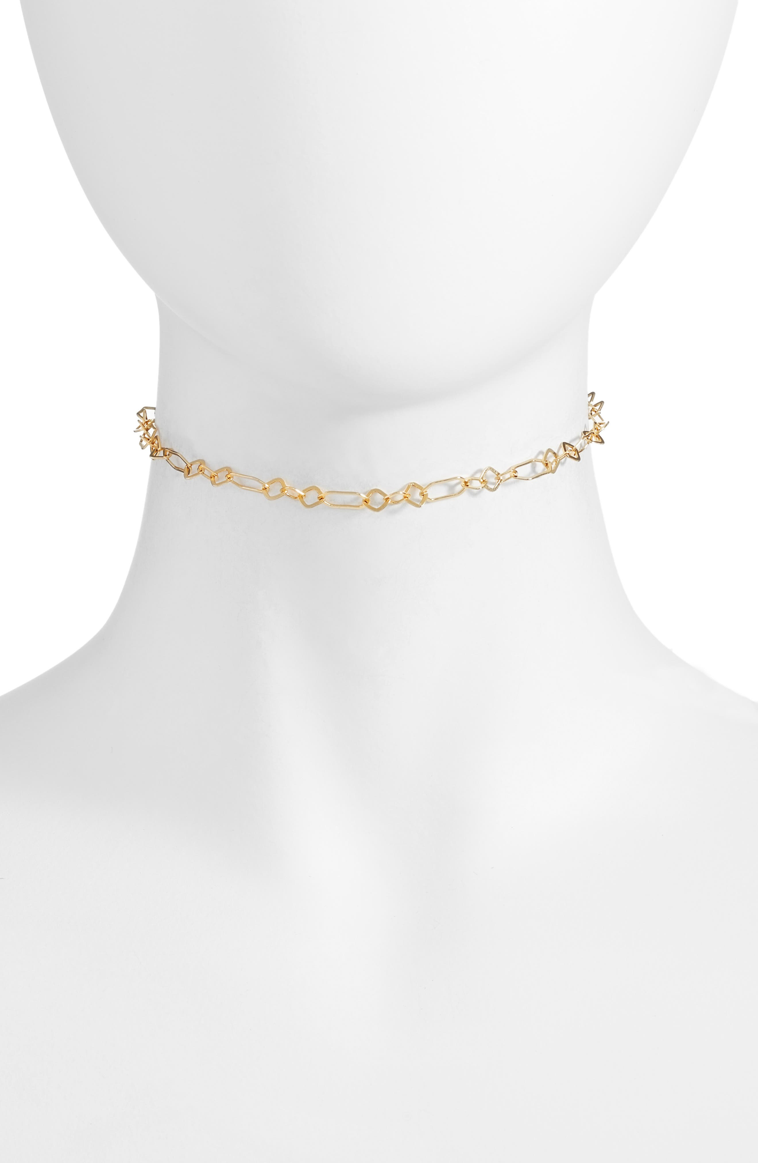 Oval Link Choker Necklace,                         Main,                         color, Gold