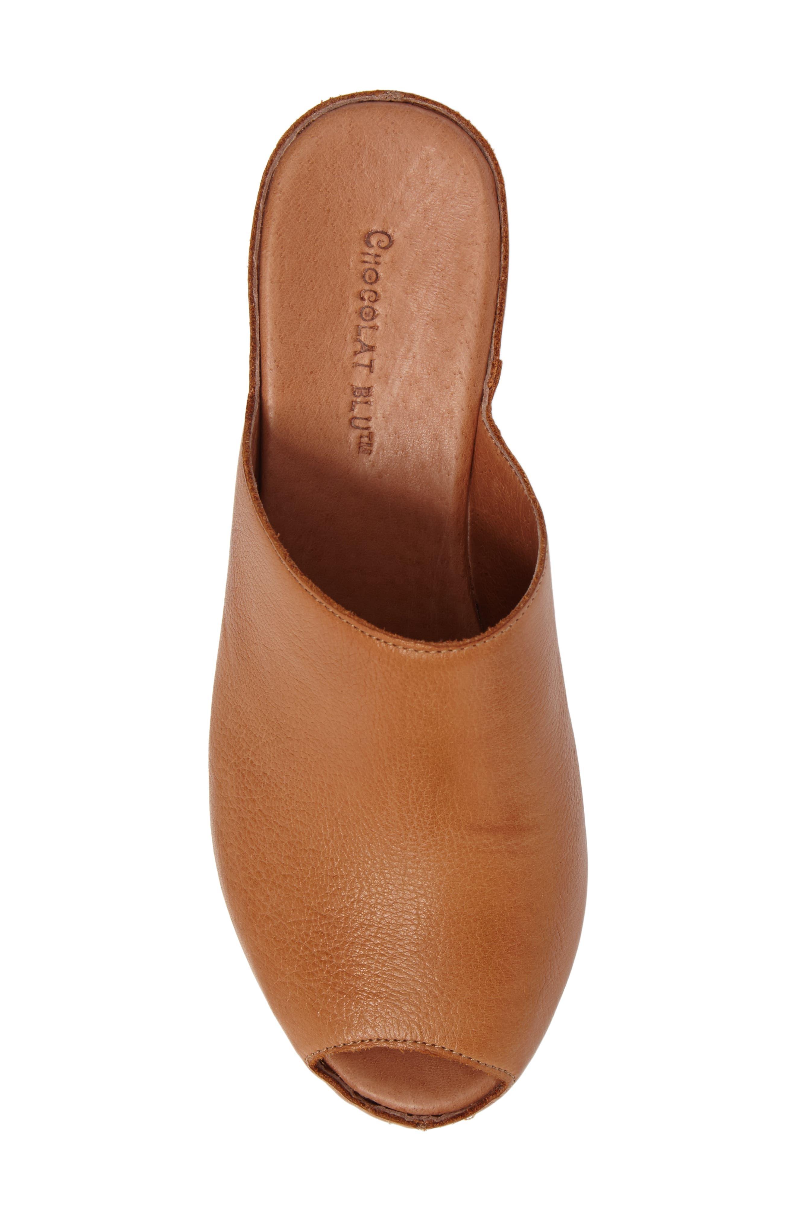 Willa Platform Wedge Mule,                             Alternate thumbnail 5, color,                             Camel Leather