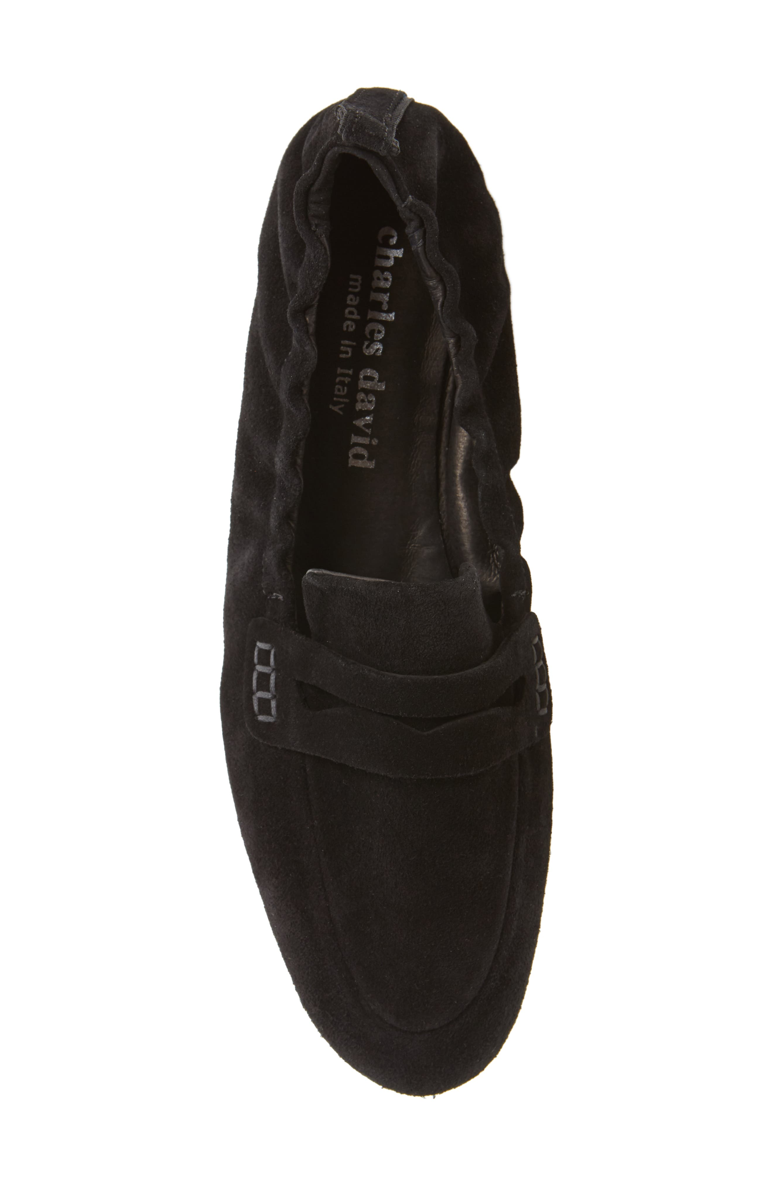 Milly Elastic Loafer Flat,                             Alternate thumbnail 5, color,                             Black Suede
