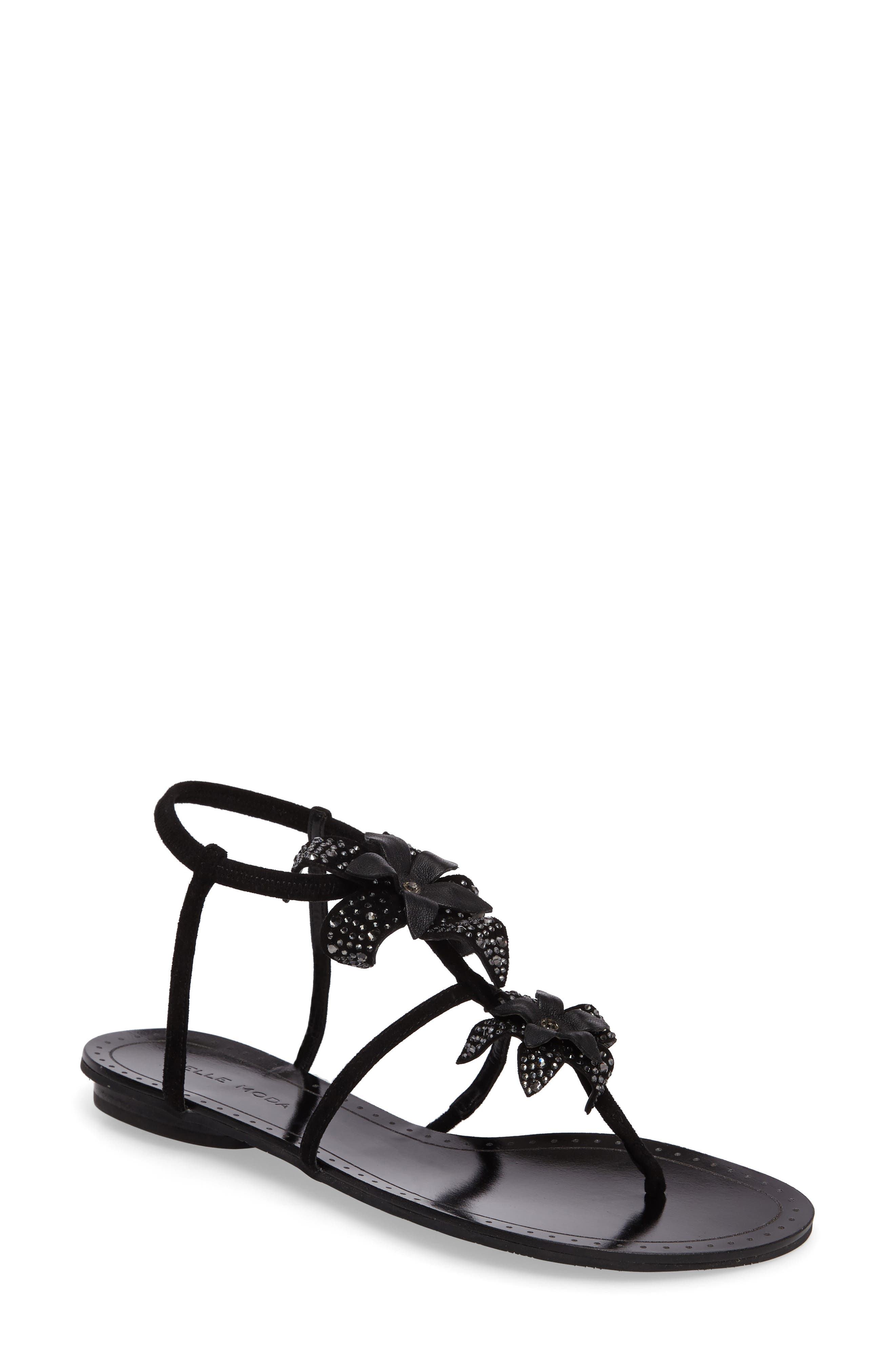 Ellis Strappy Flowered Sandal,                             Main thumbnail 1, color,                             Black Leather
