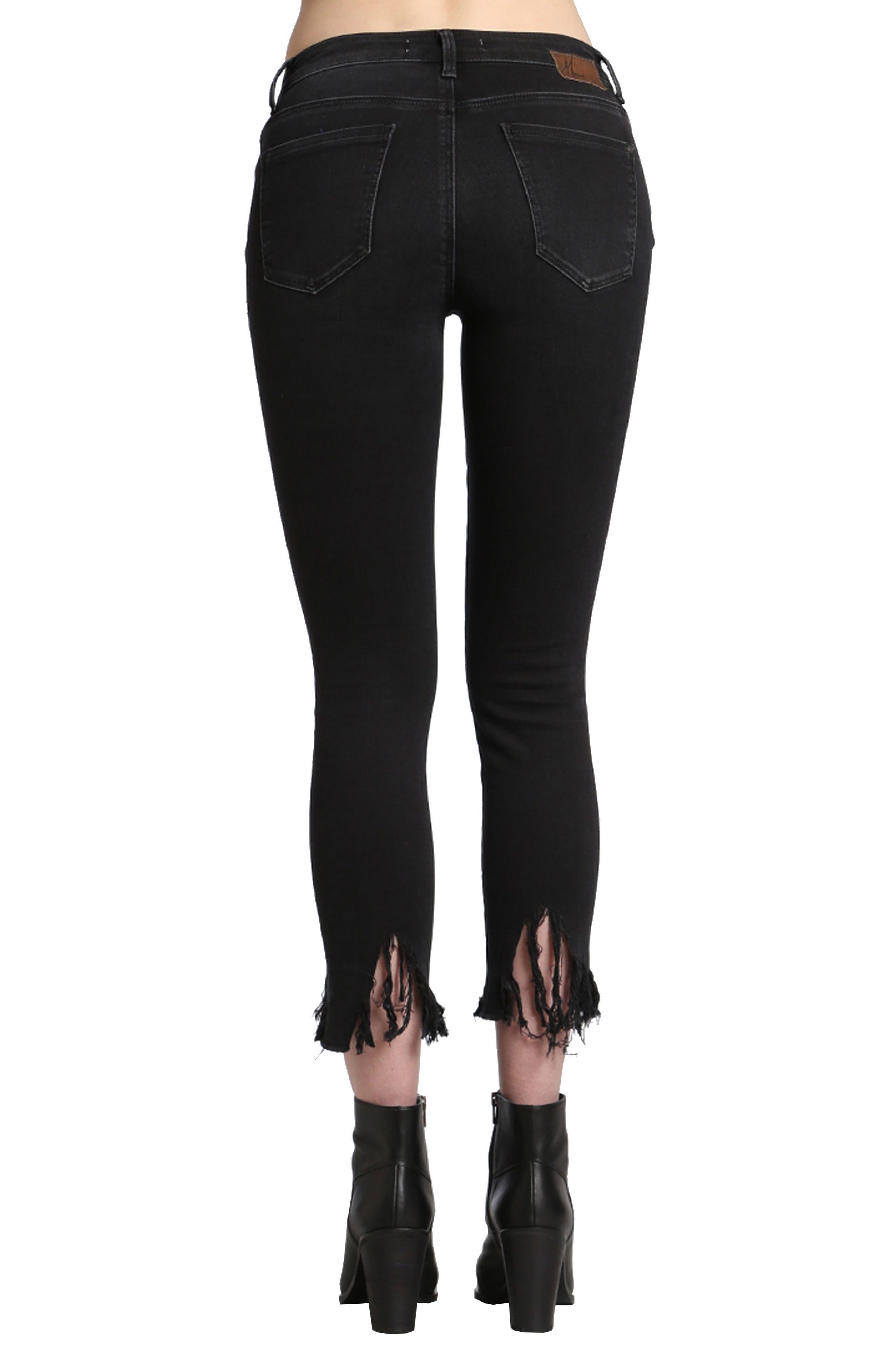 Alternate Image 2  - Mavi Jeans Tess Fringe Skinny Crop Jeans (Smoke)
