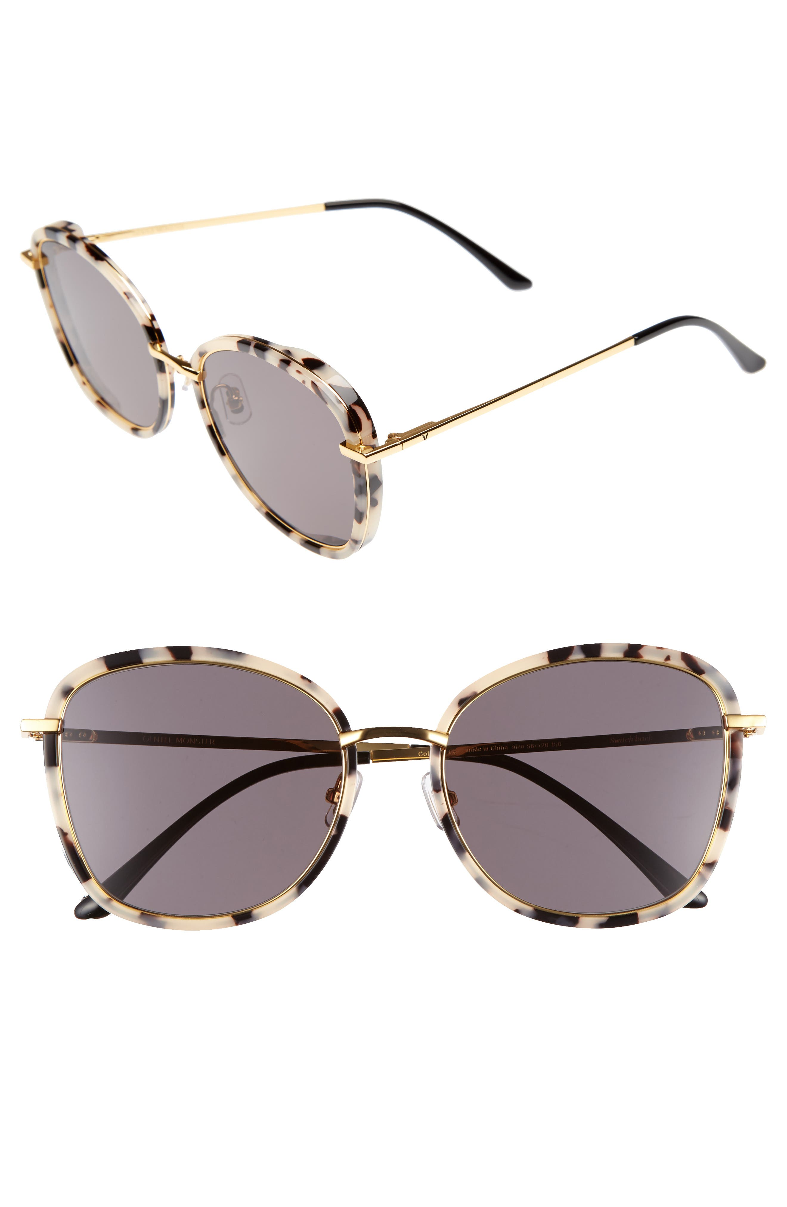 Gentle Monster Switch Back 58mm Rounded Sunglasses