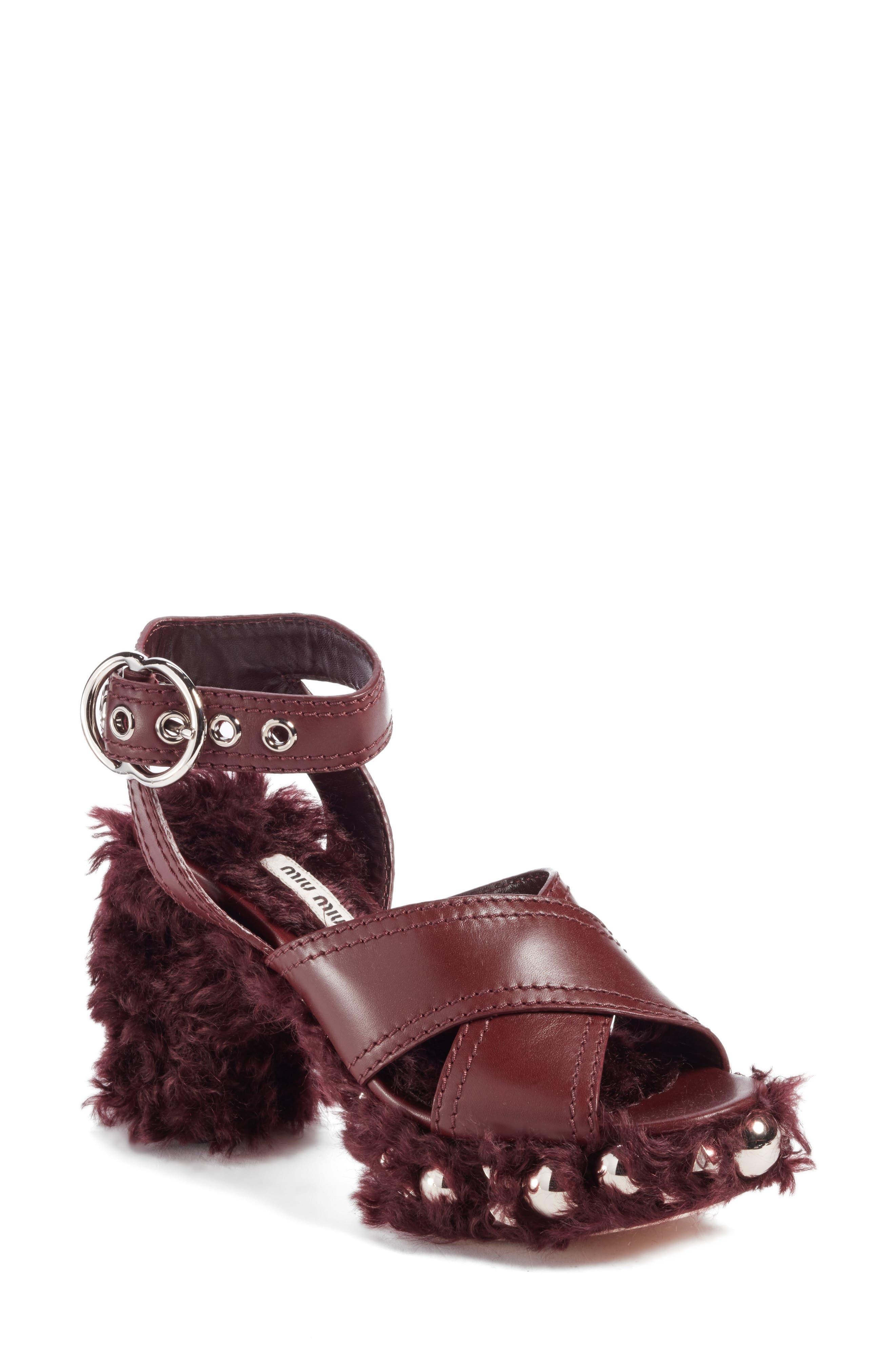 MIU MIU Faux Fur Platform Sandal