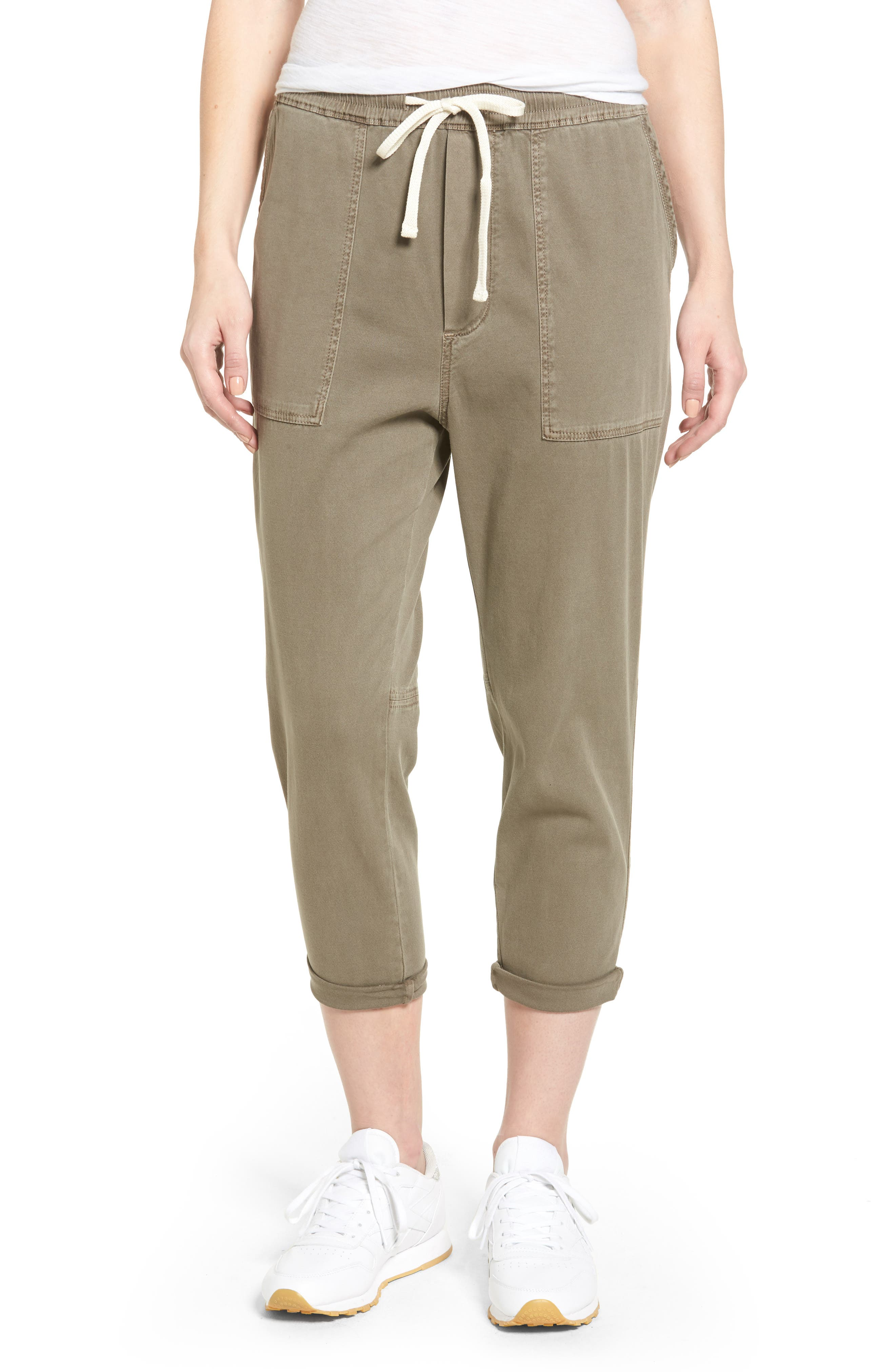 Relaxed Crop Twill Pants,                         Main,                         color, Ammo Pigment