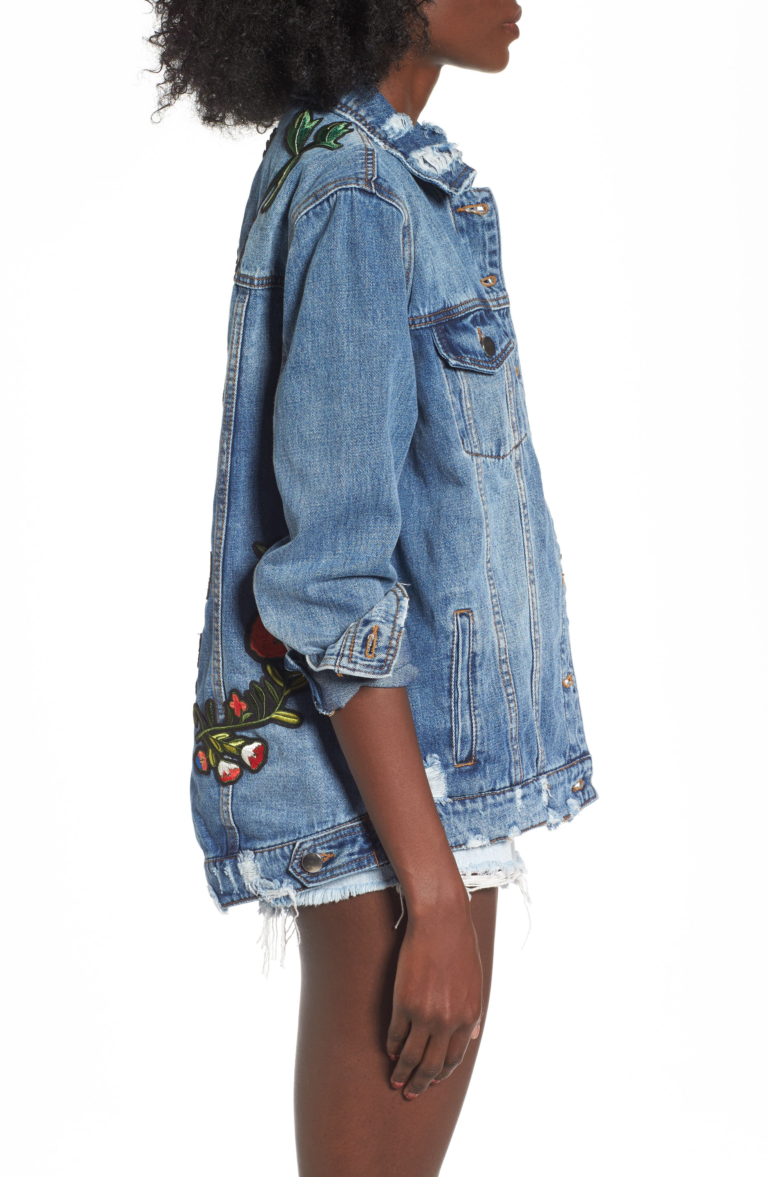 Alternate Image 3  - AFRM Eloise Embroidered Denim Jacket