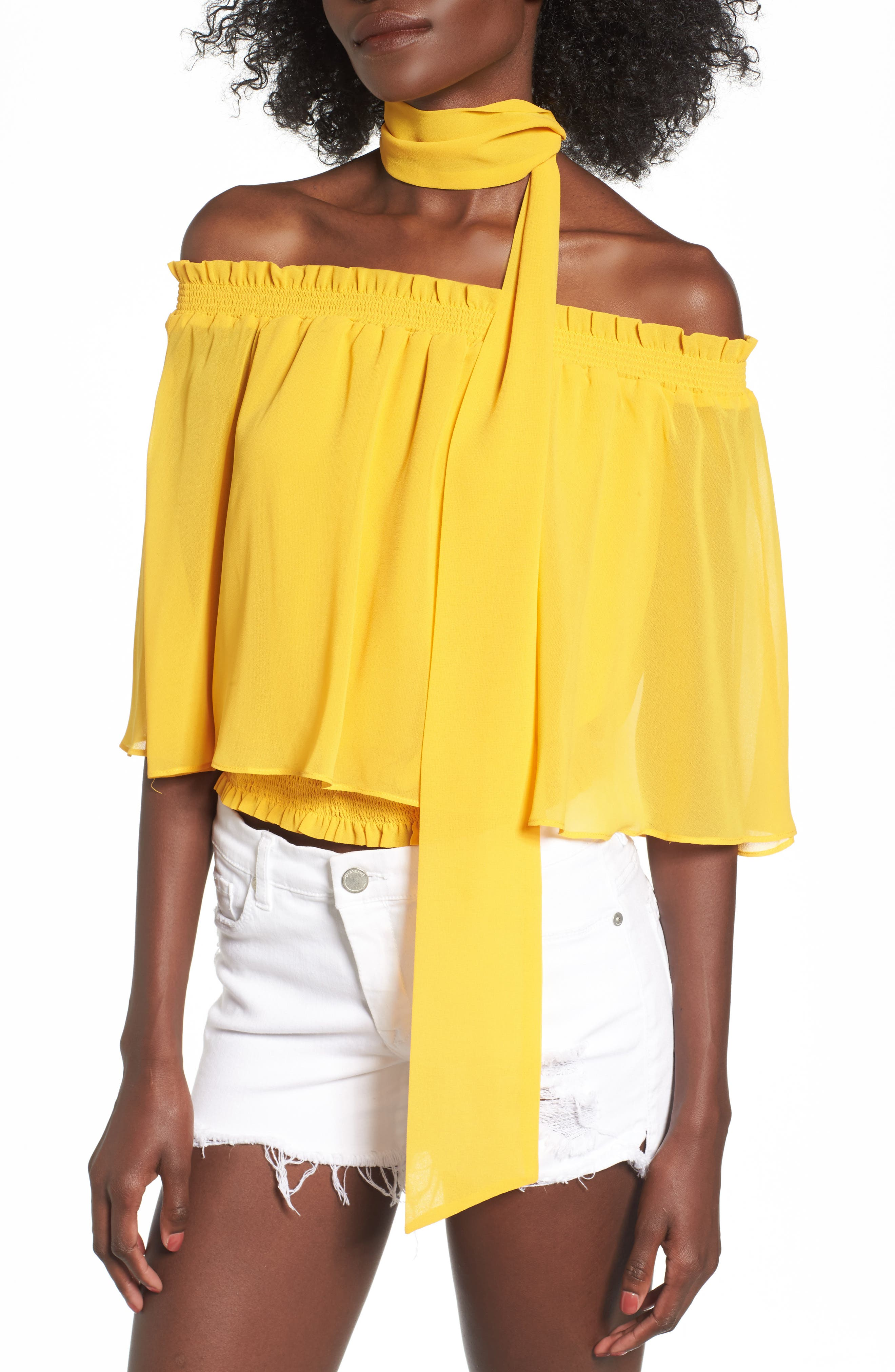 Lora Off the Shoulder Ruffle Top with Scarf,                             Alternate thumbnail 4, color,                             Sun