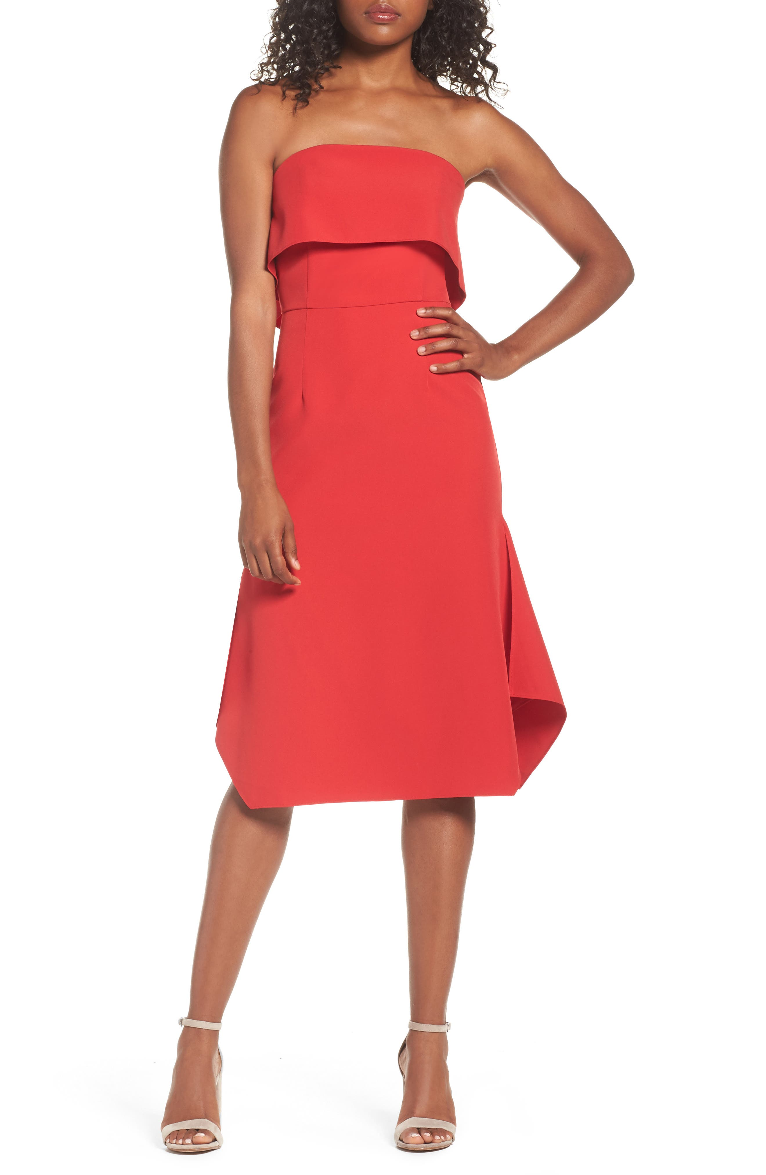 Aurora Rose Crepe Popover Dress,                             Main thumbnail 1, color,                             Red Barberry