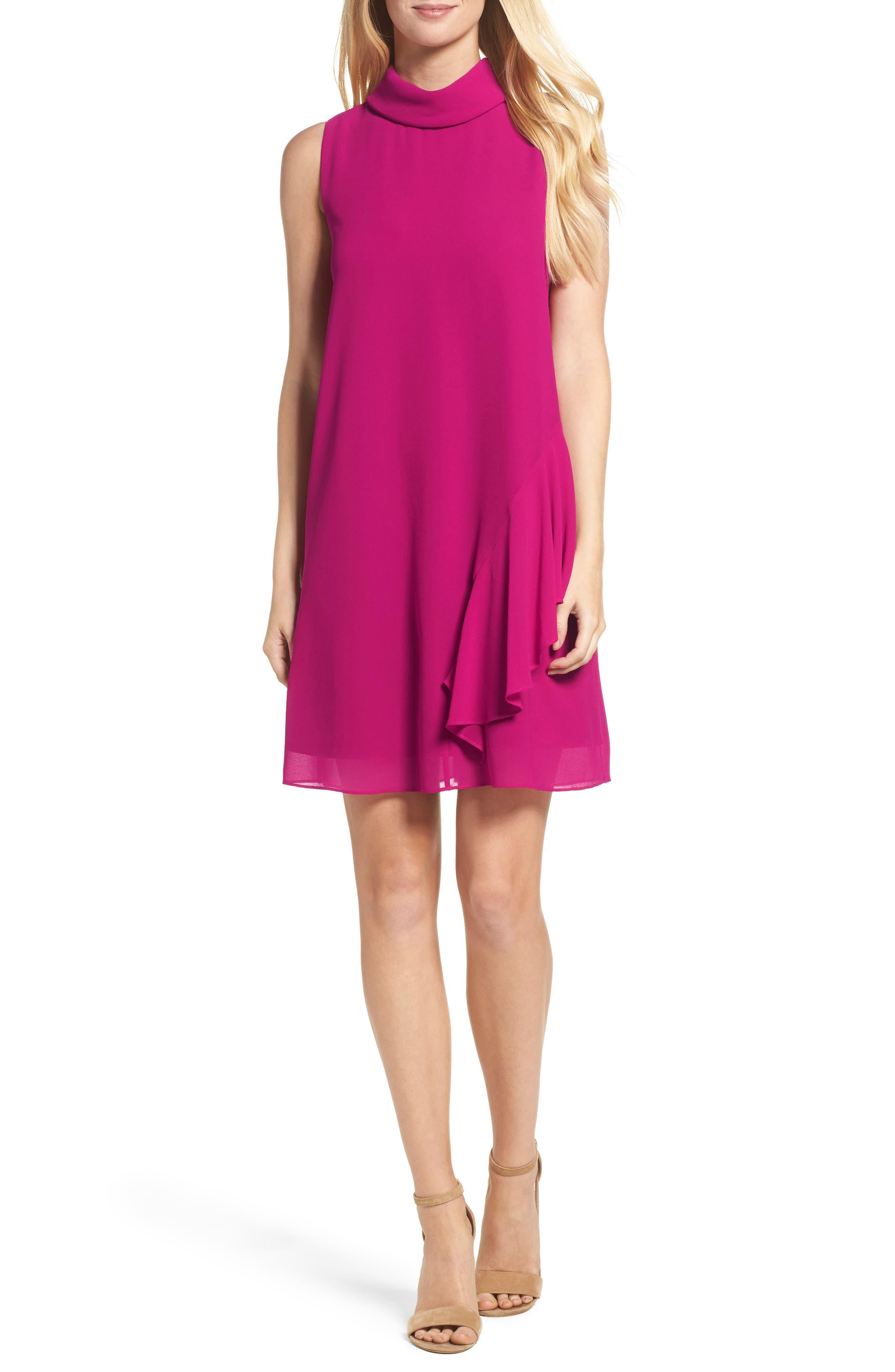 Roll Neck Chiffon Dress,                         Main,                         color, Magenta