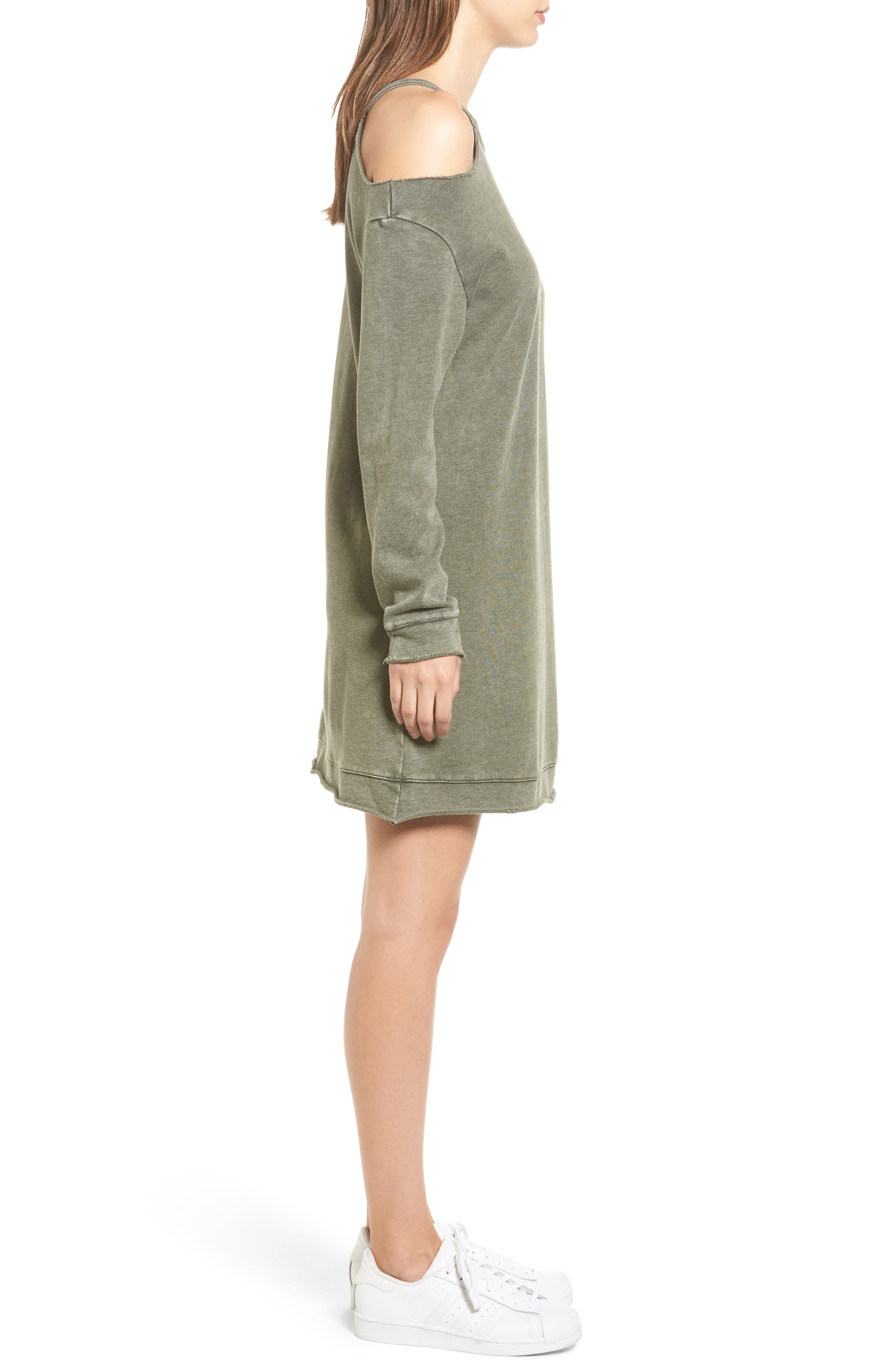 Ripped Sweatshirt Dress,                             Alternate thumbnail 3, color,                             Olive Dark